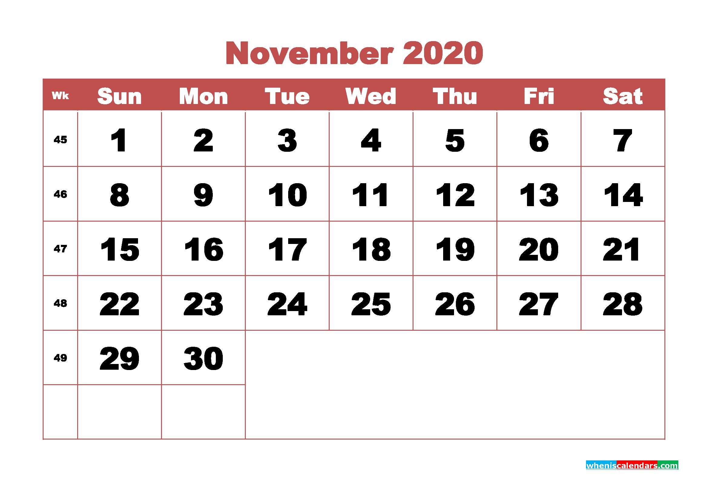 Free Blank Calendar November 2020 Printable - No.m20b335