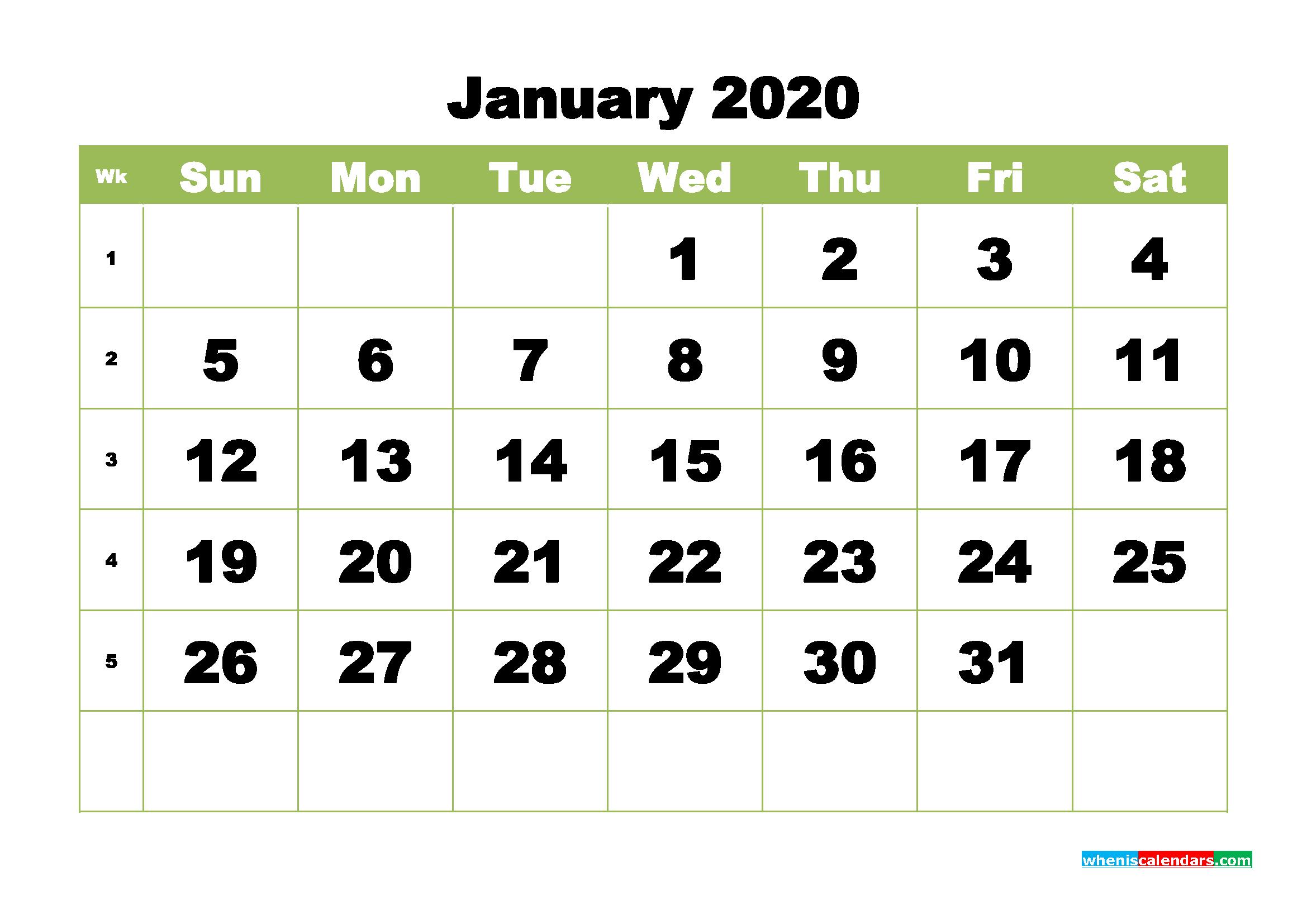 Free Printable Calendar January 2020 PDF, Word - No.m20b361