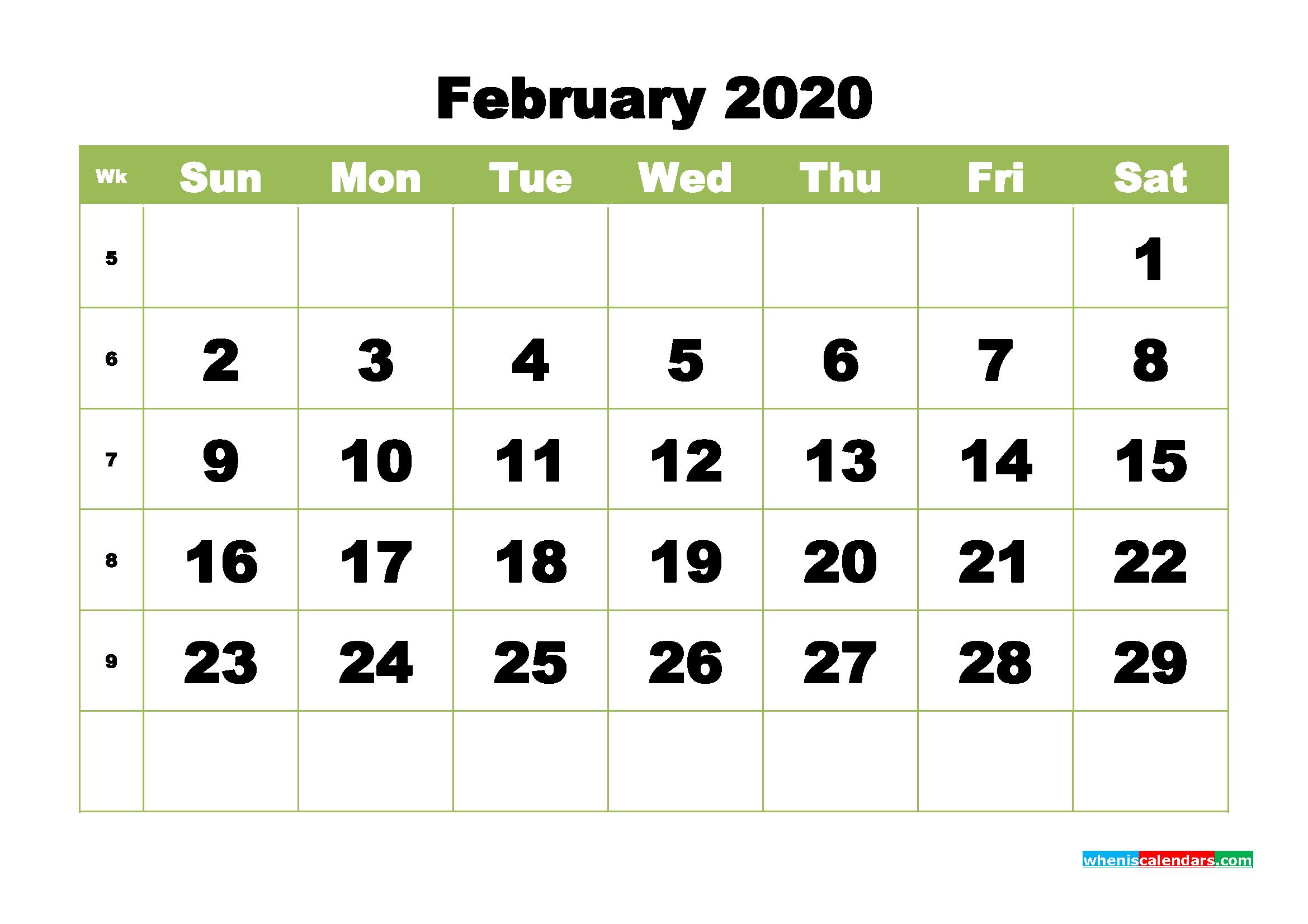 Free Printable Calendar February 2020 PDF, Word - No.m20b362