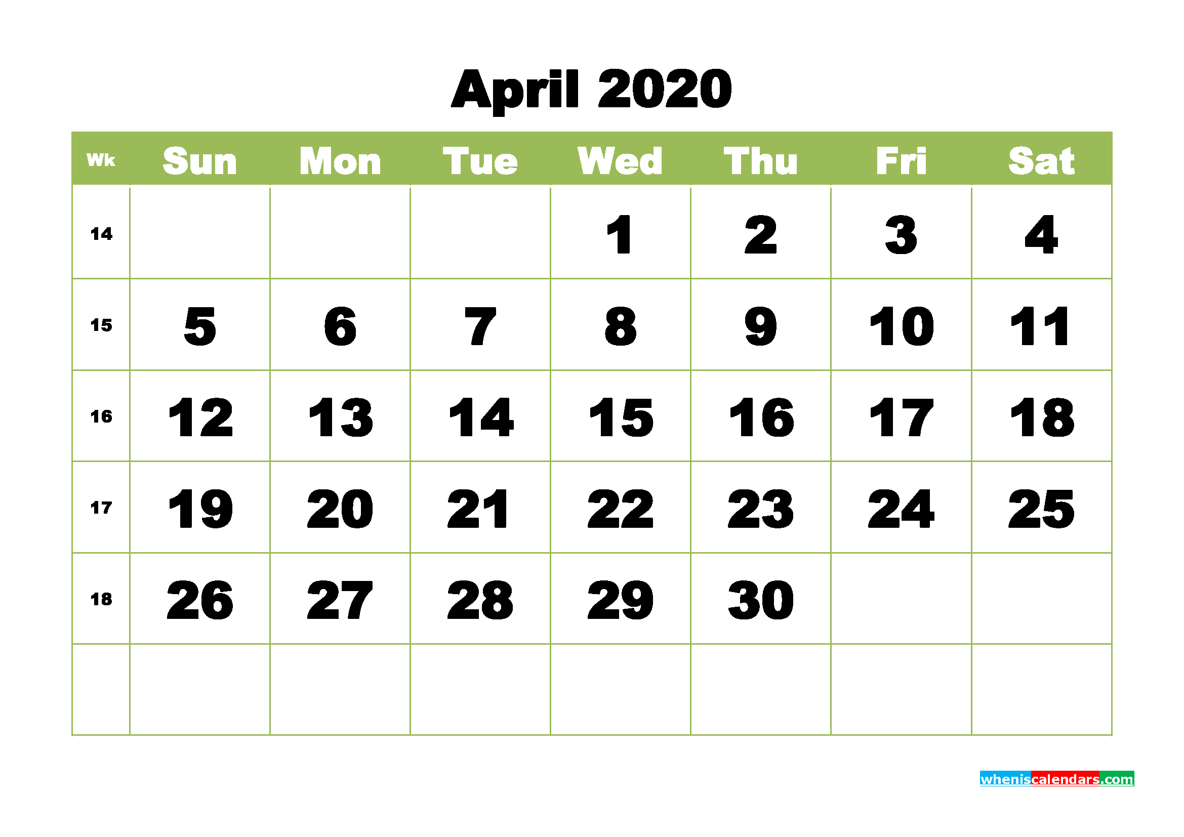 Free Printable Calendar April 2020 PDF, Word - No.m20b364
