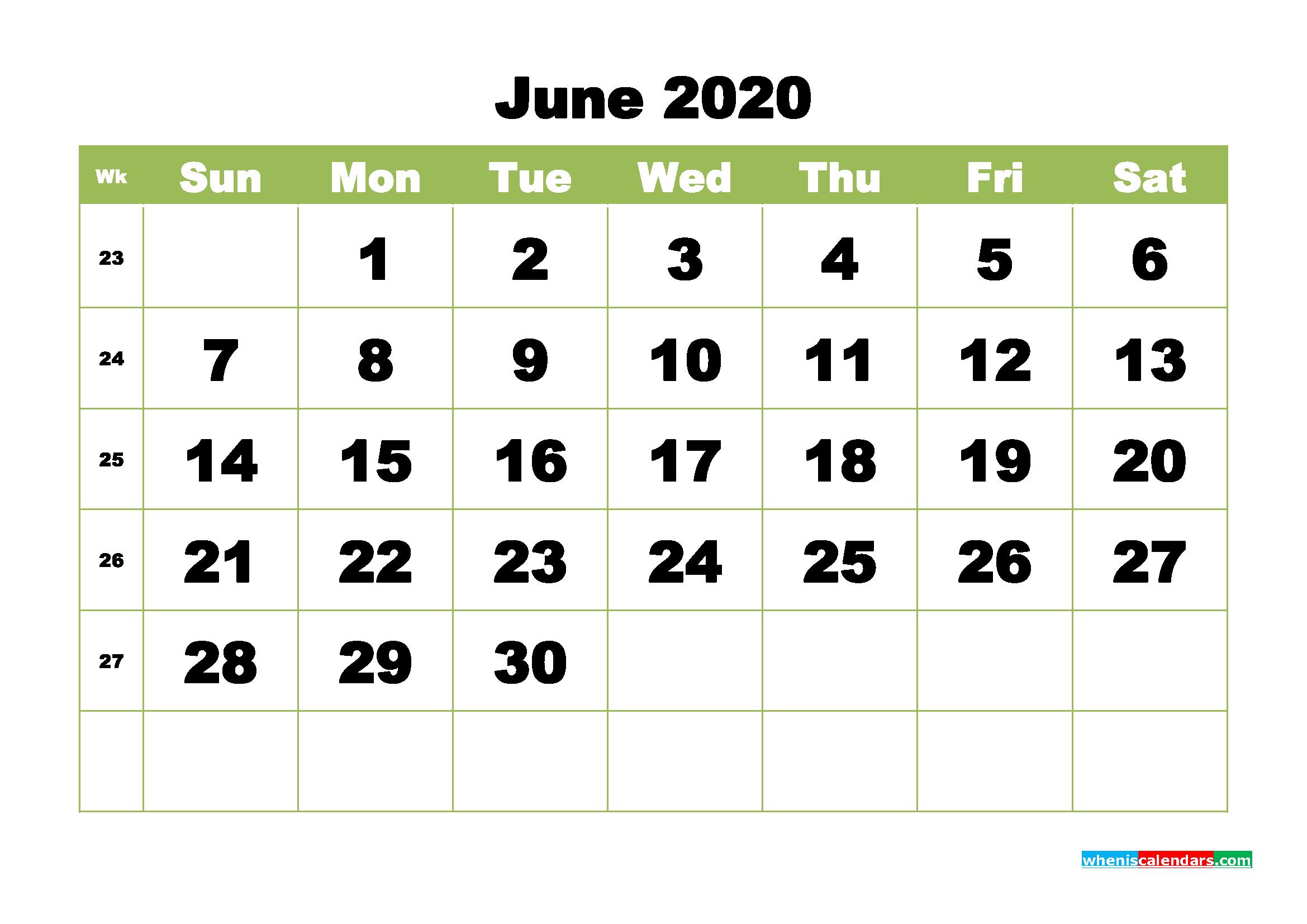 Free Printable Calendar June 2020 PDF, Word - No.m20b366