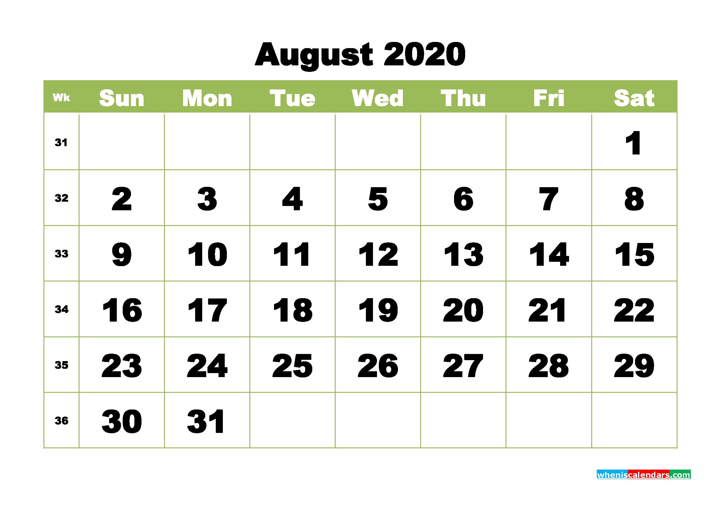 Free Printable Calendar August 2020 PDF, Word - No.m20b368