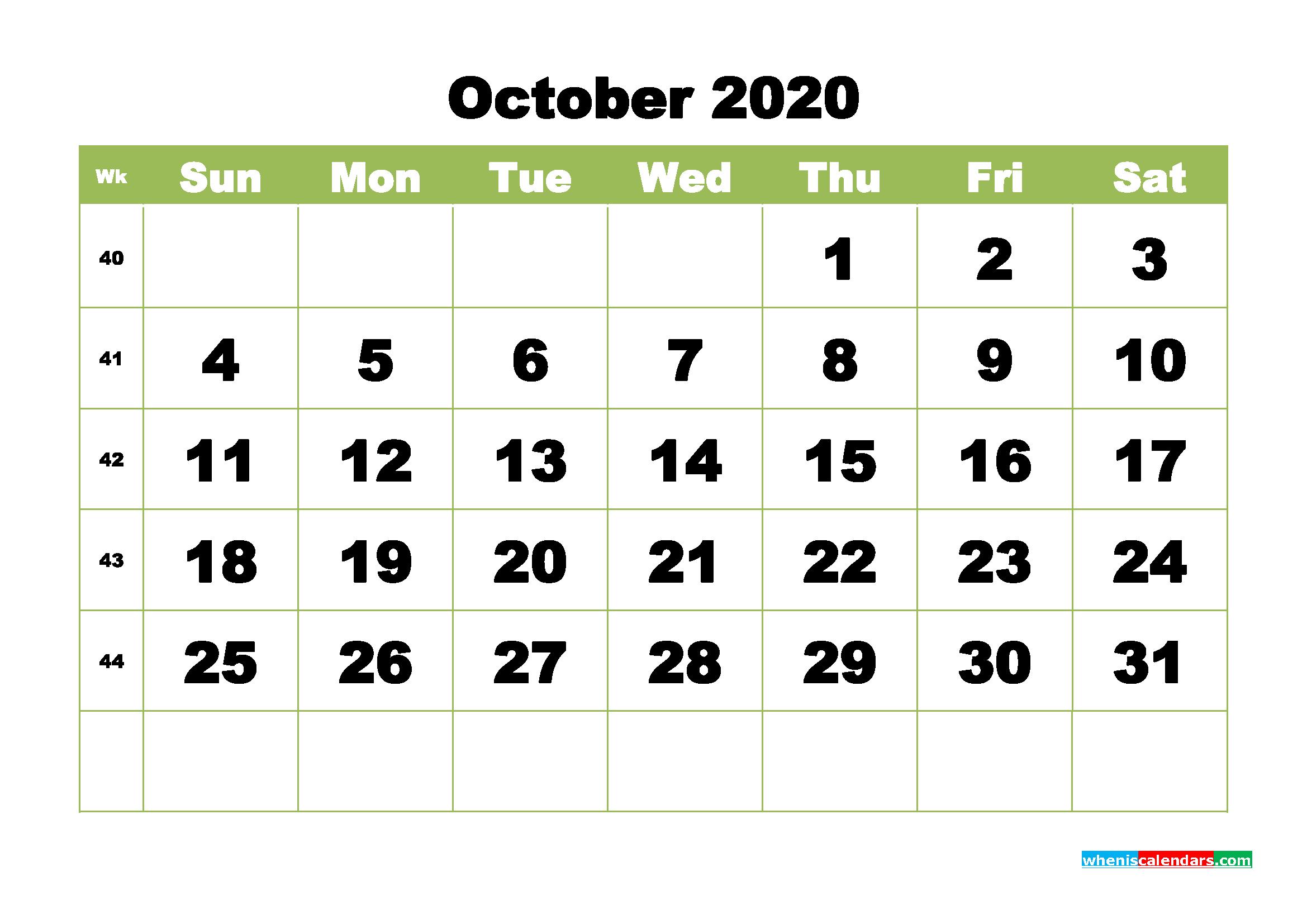 Free Printable Calendar October 2020 PDF, Word - No.m20b370