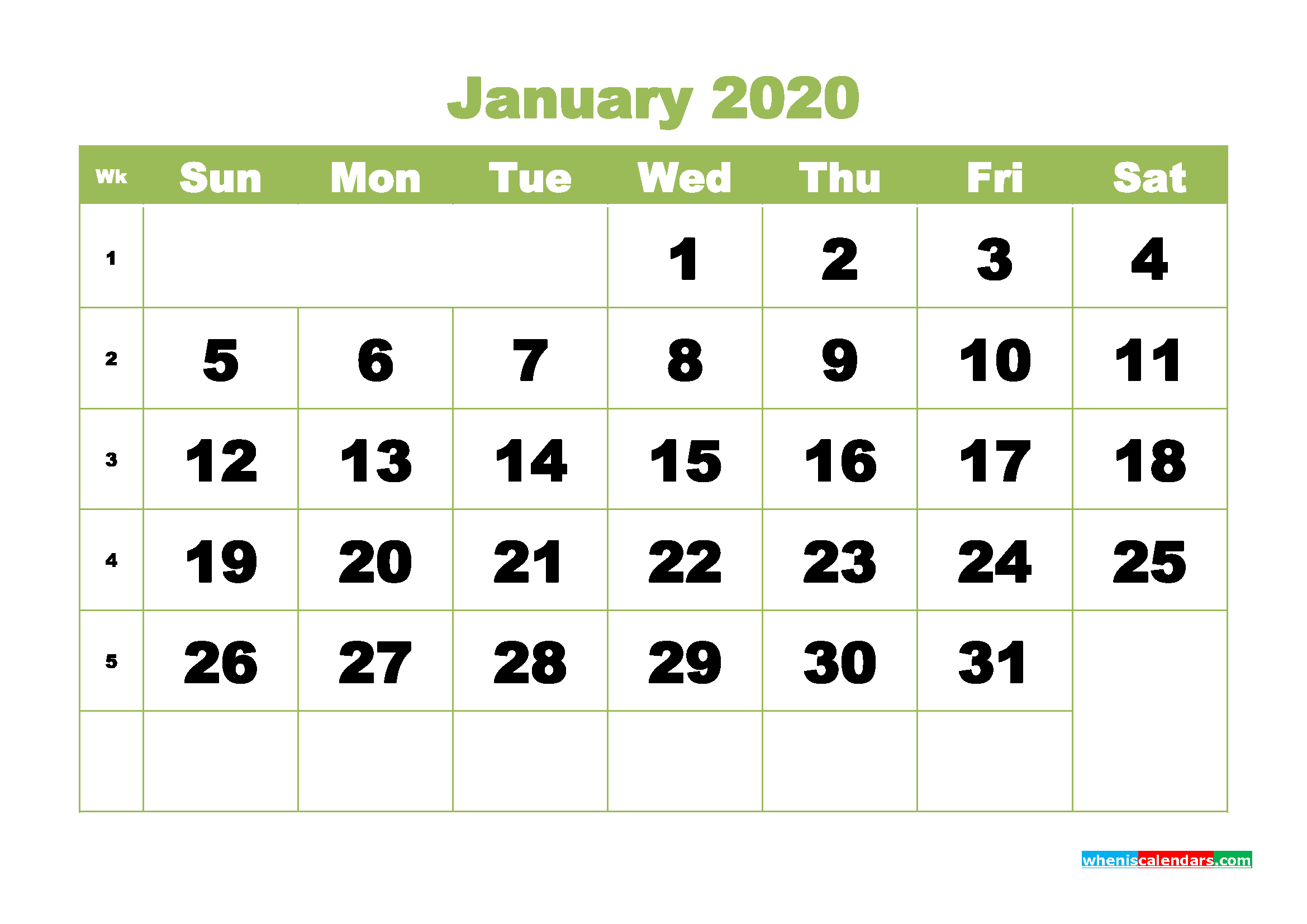 January 2020 Blank Calendar Printable - No.m20b349