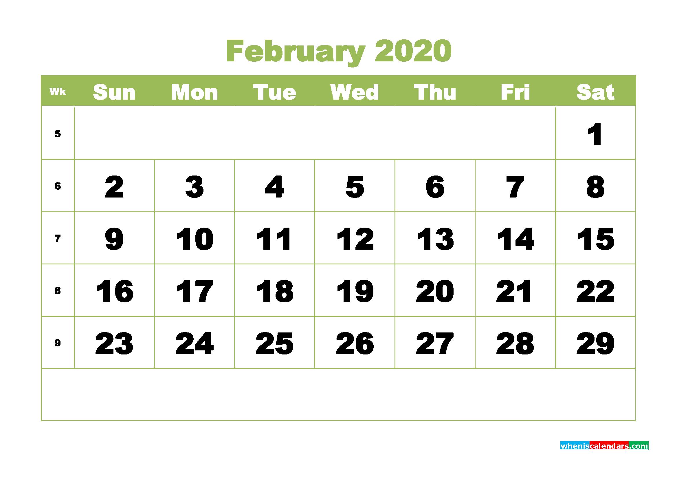 February 2020 Blank Calendar Printable - No.m20b350