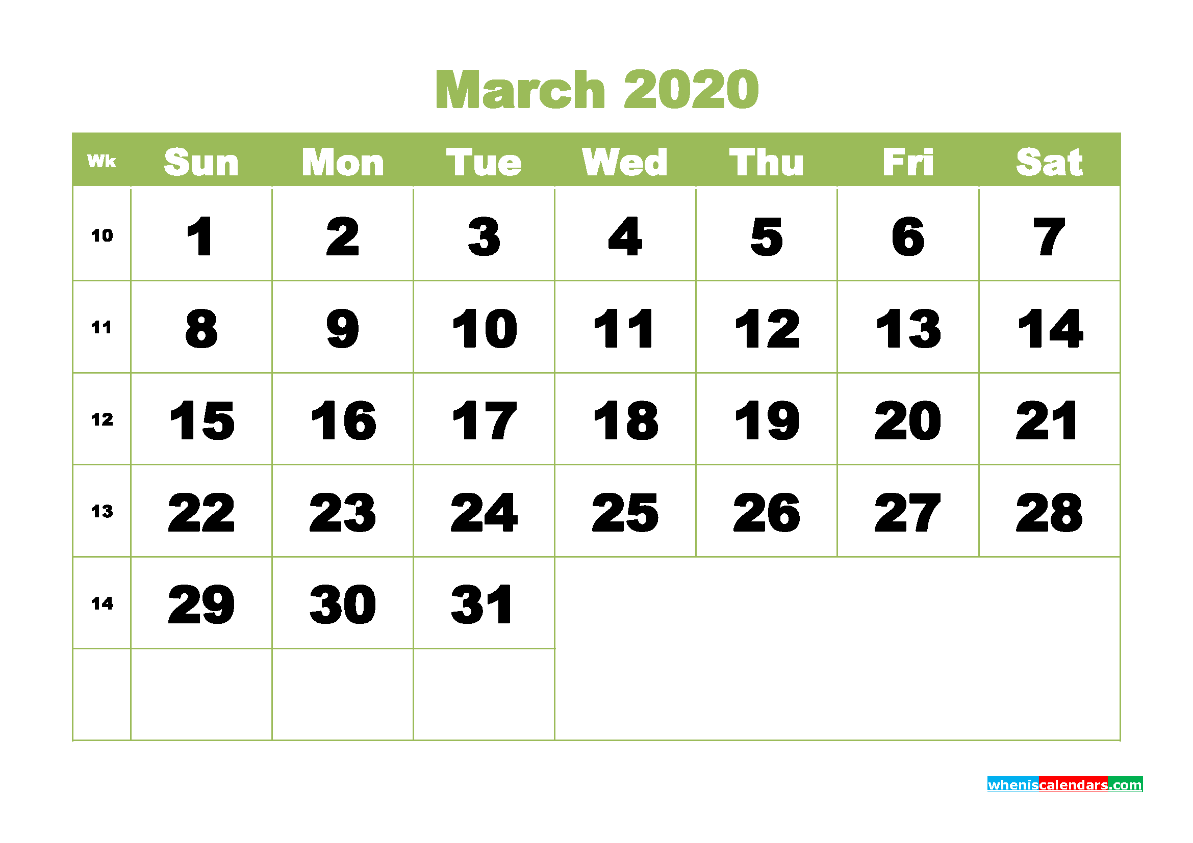 March 2020 Blank Calendar Printable - No.m20b351