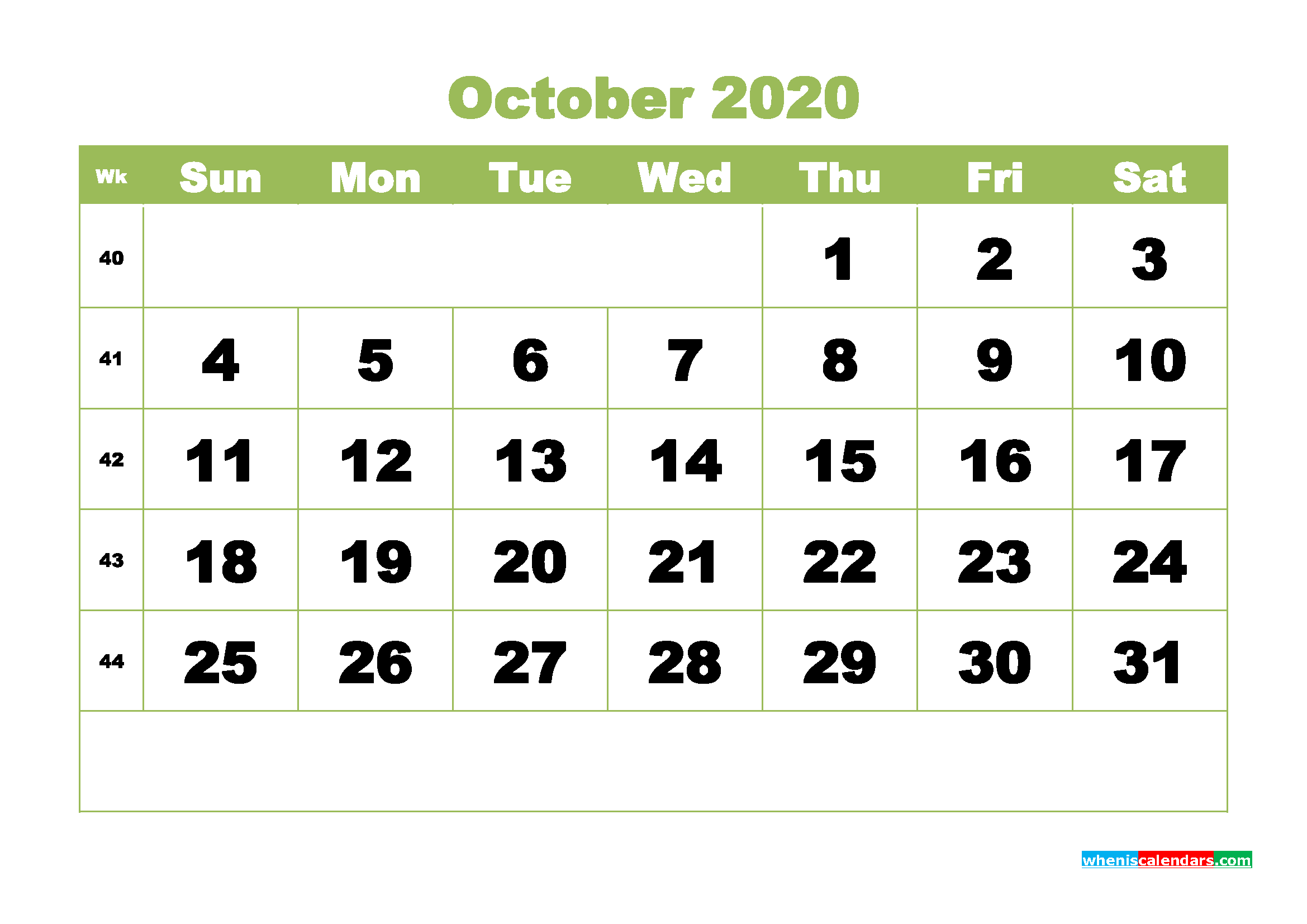 Printable 2020 Monthly Calendar with Week Numbers October