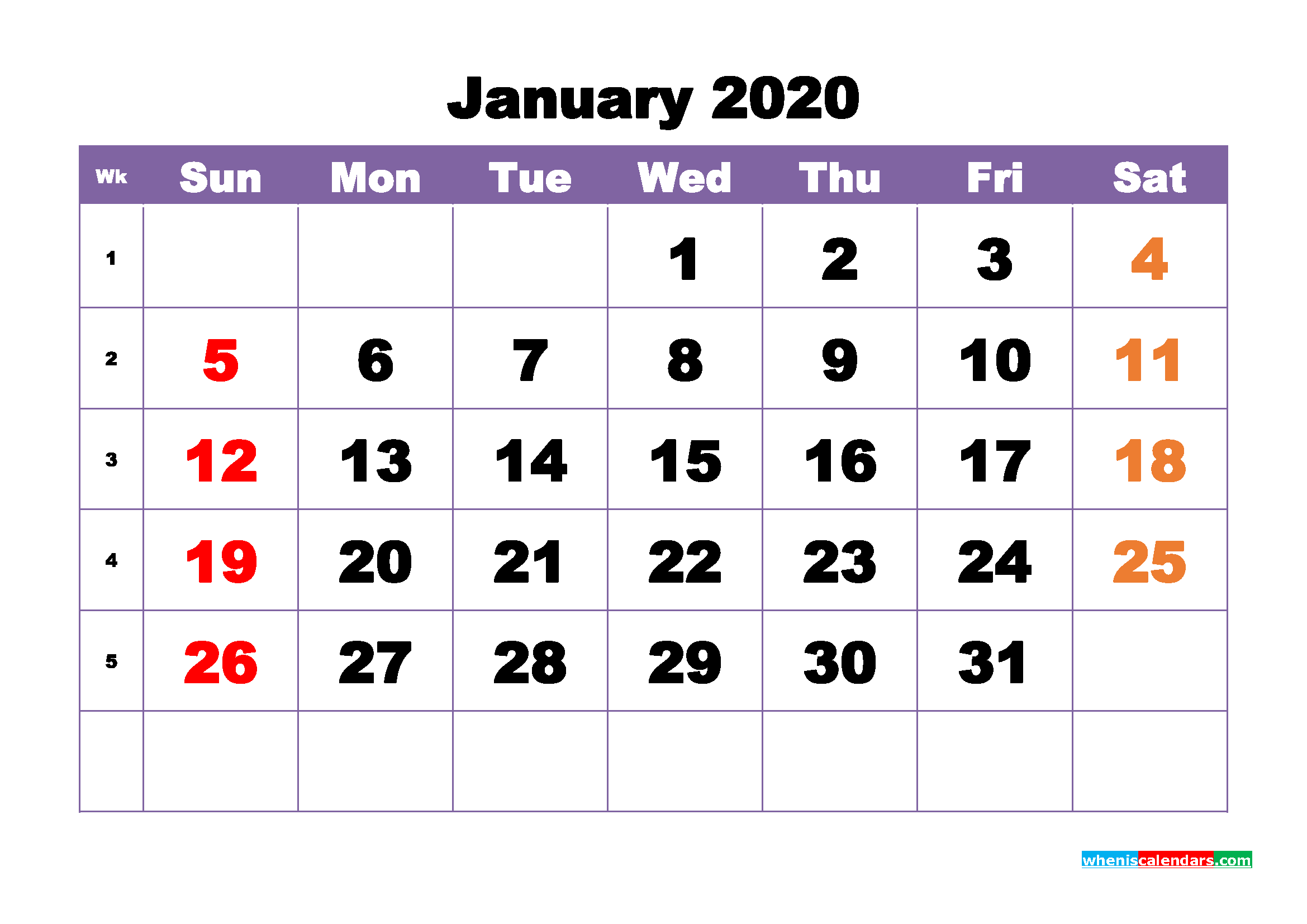 Free Printable January 2020 Calendar - No.m20b385
