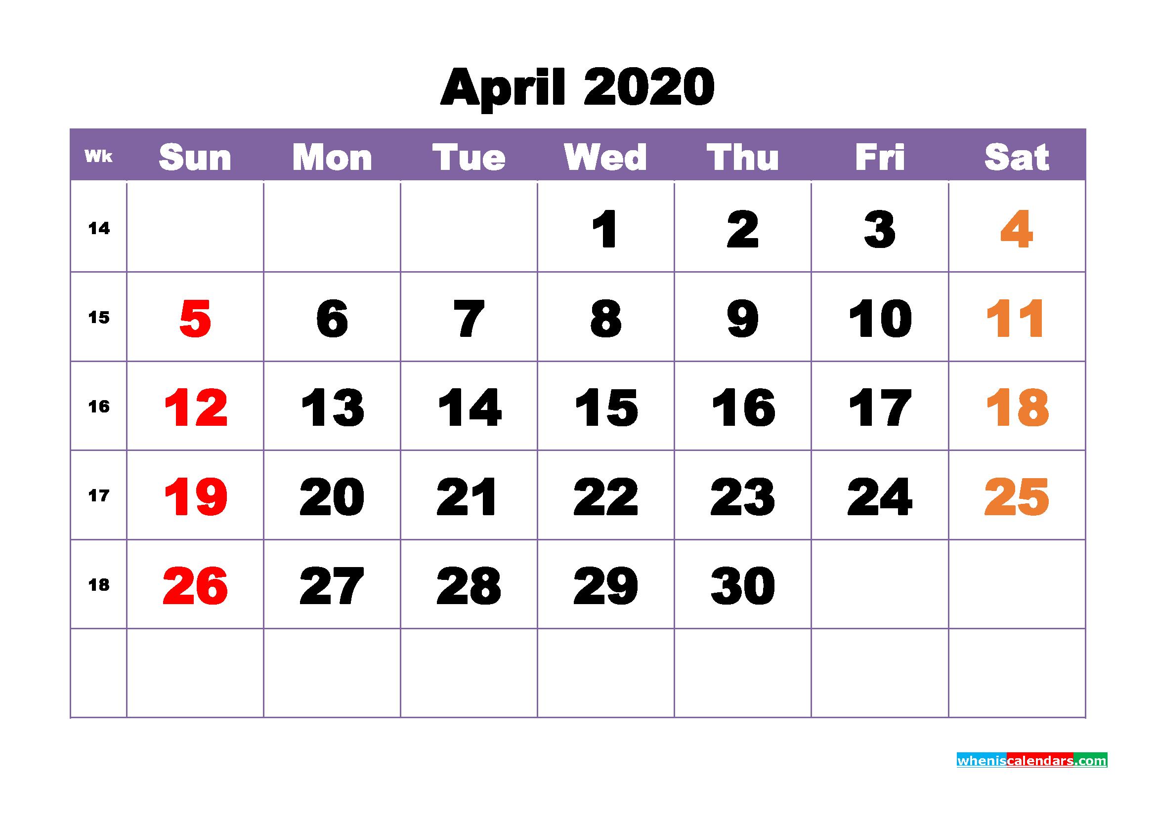 Free Printable April 2020 Calendar - No.m20b388
