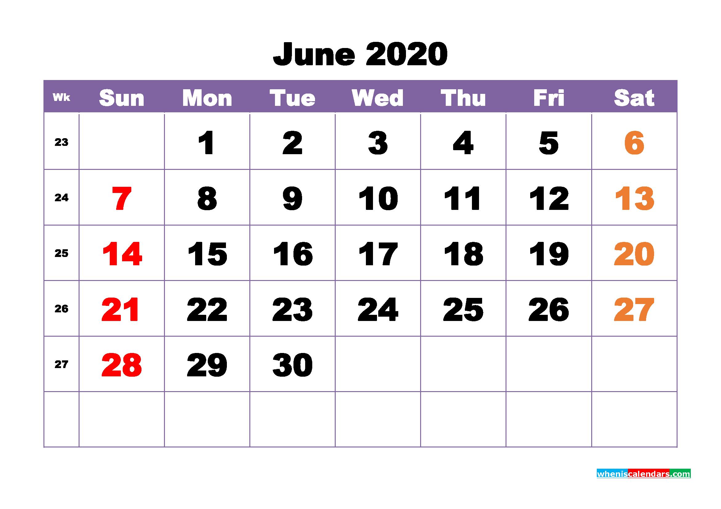 Free Printable June 2020 Calendar - No.m20b390