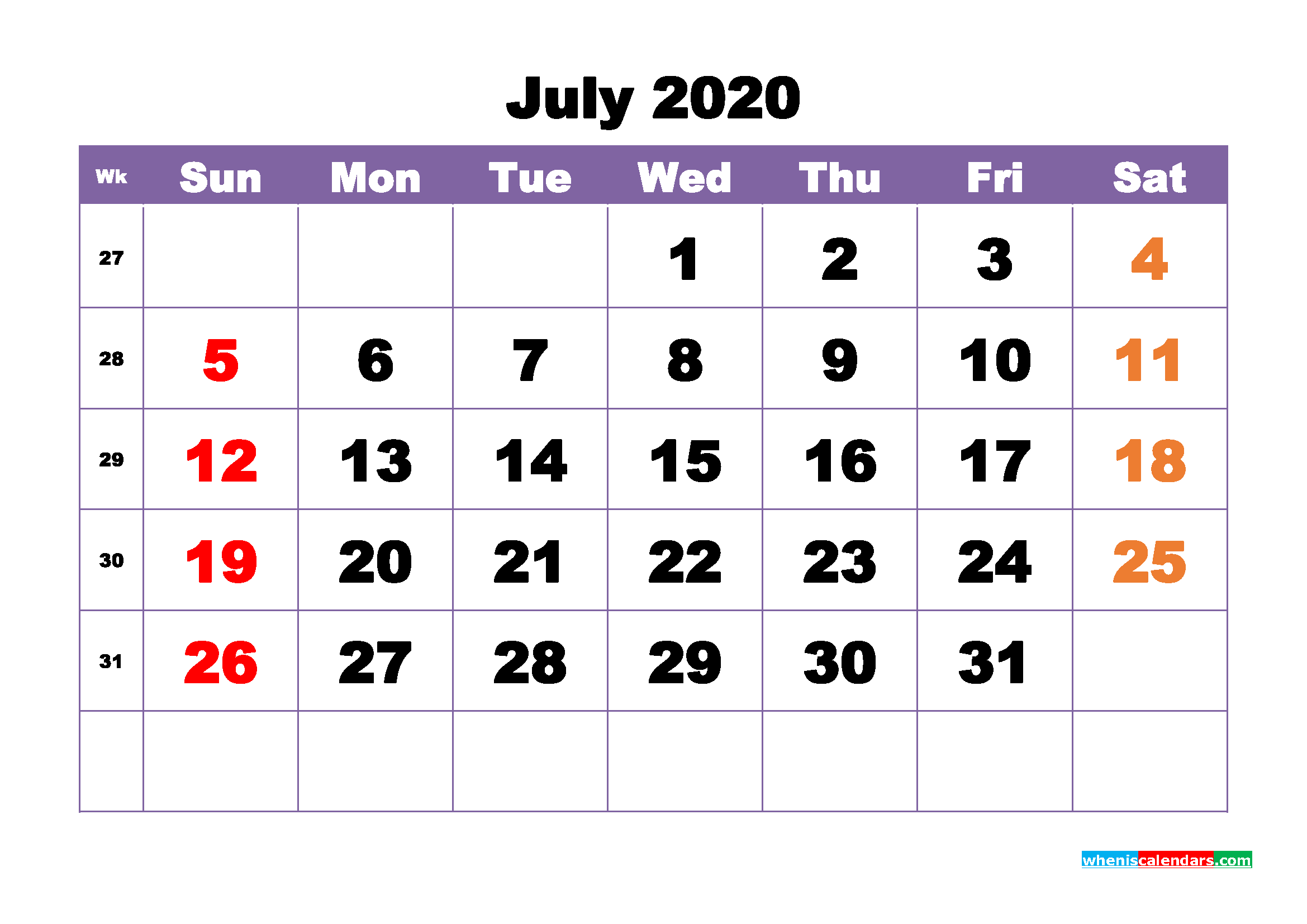 Free Printable July 2020 Calendar - No.m20b391