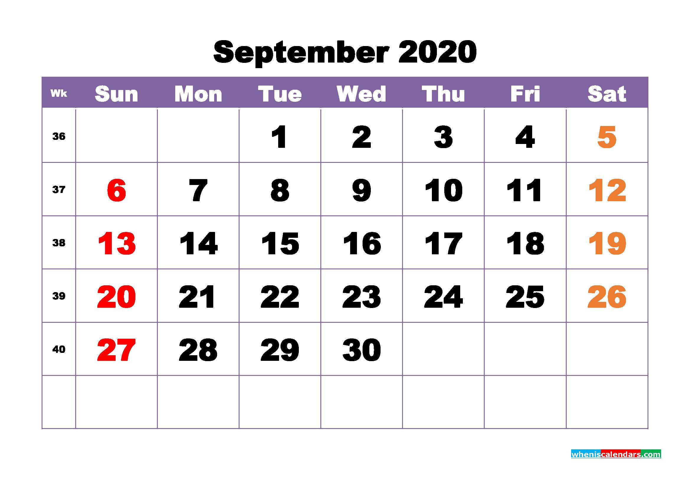 Free Printable September 2020 Calendar - No.m20b393