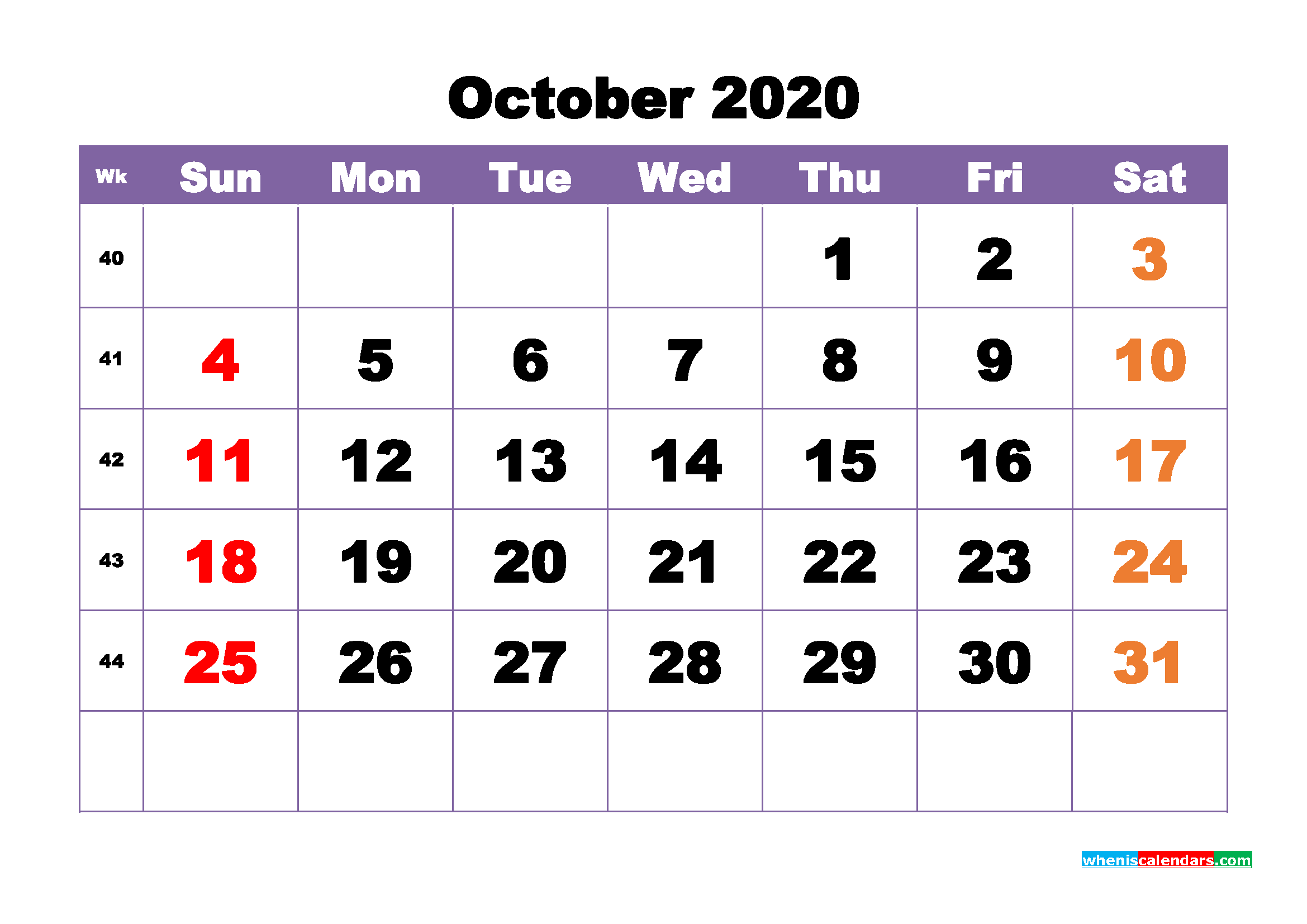 Free Printable October 2020 Calendar - No.m20b394