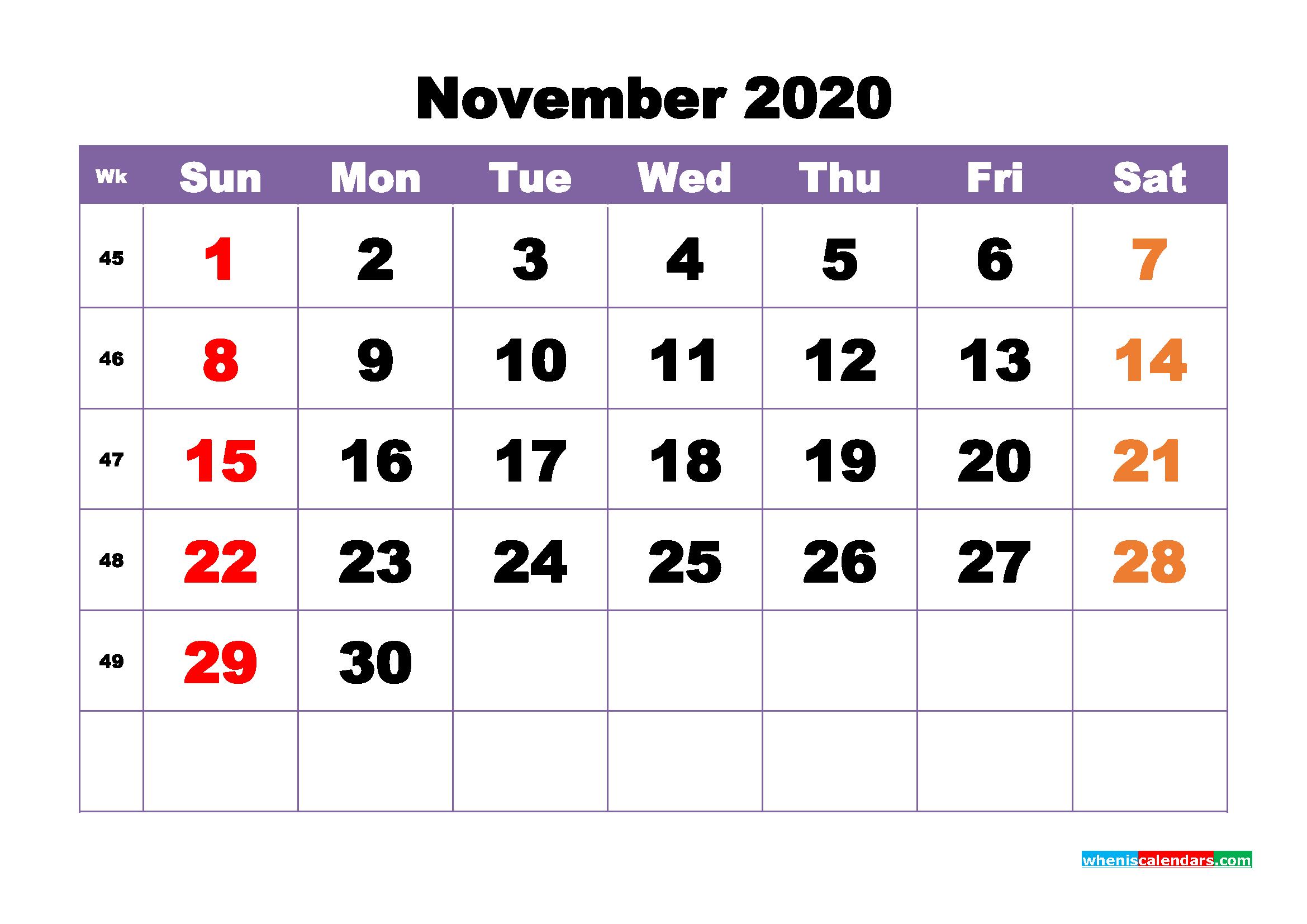 Free Printable November 2020 Calendar - No.m20b395