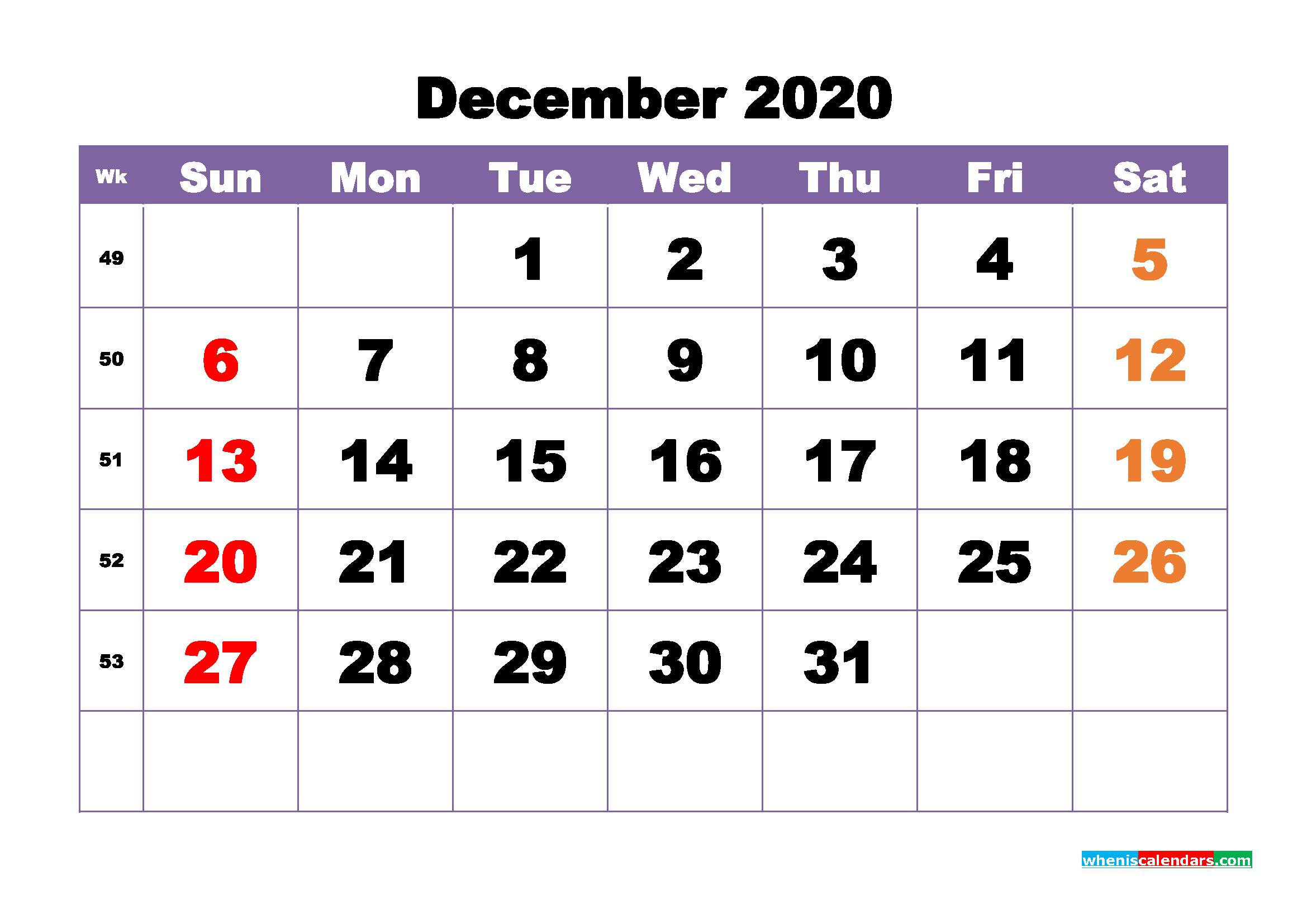 Free Printable December 2020 Calendar - No.m20b396