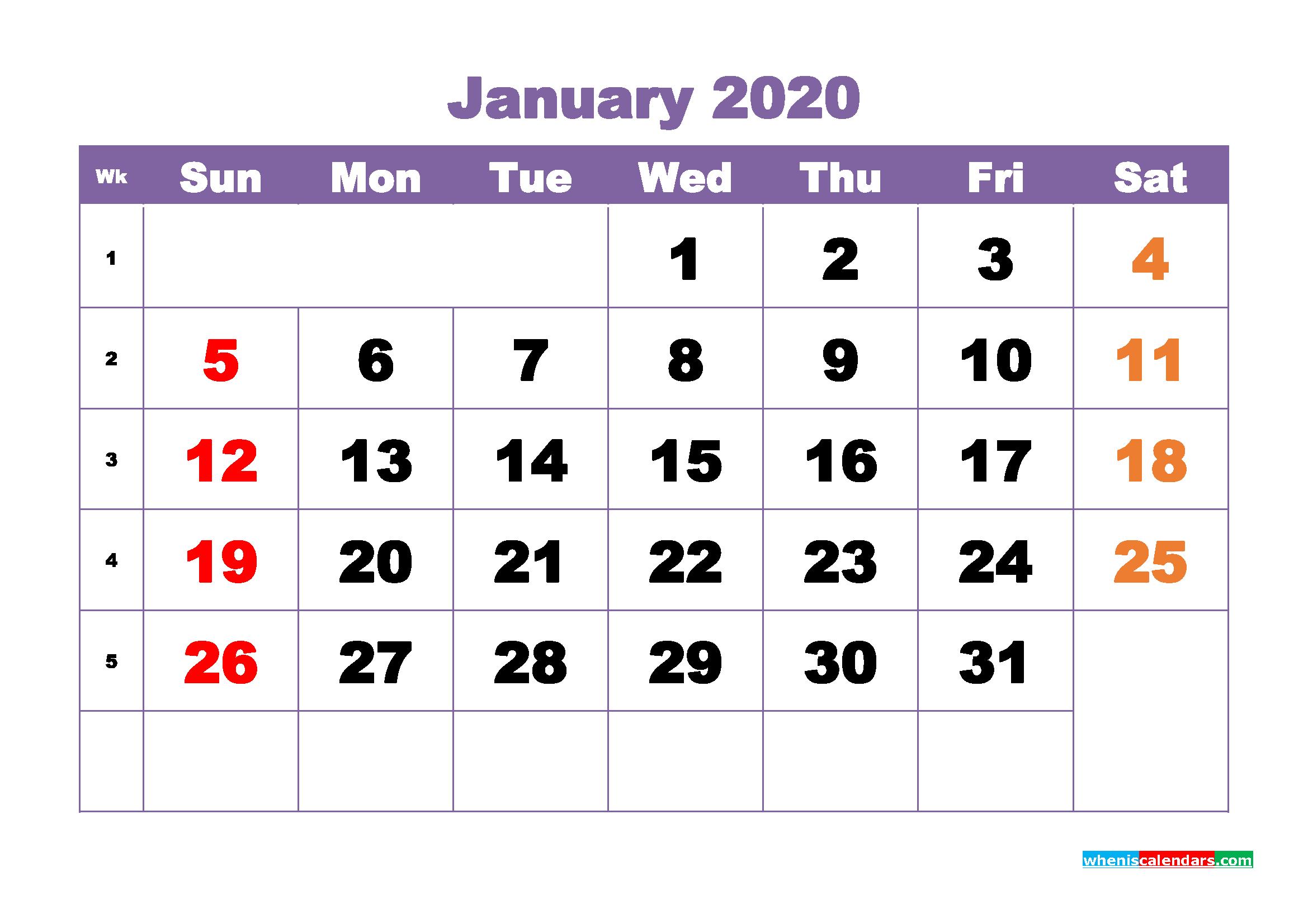 January Printable Calendar 2020 PDF, Word - No.m20b373