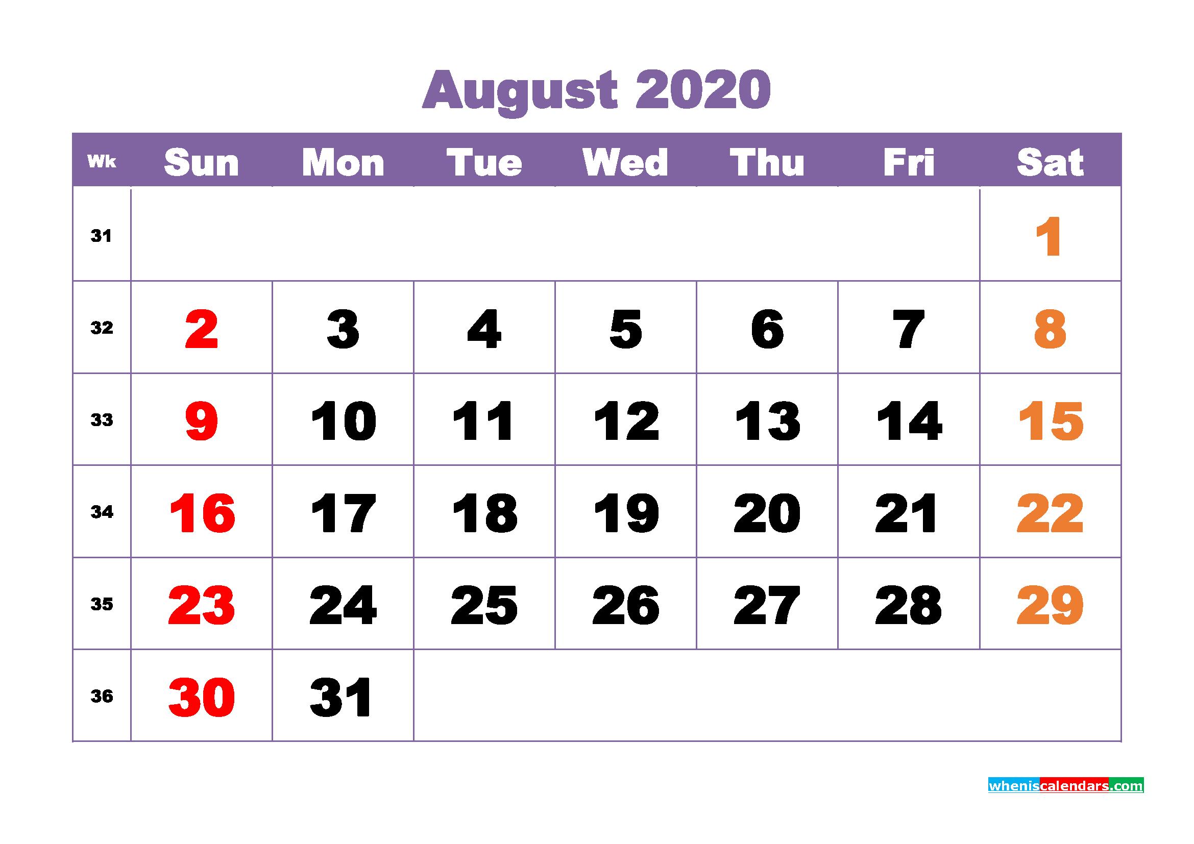 August Printable Calendar 2020 PDF, Word - No.m20b380