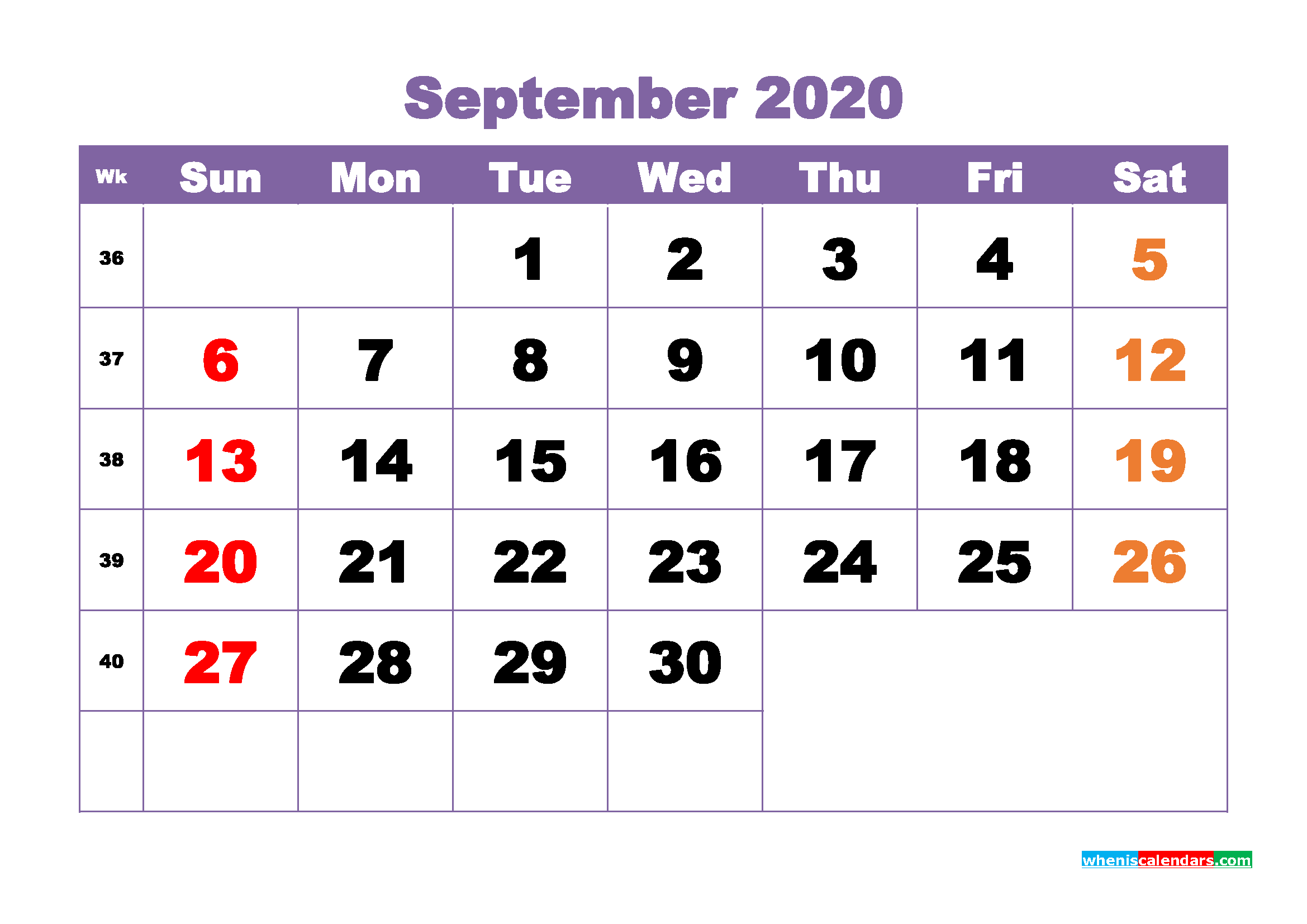 September 2020 Monthly Calendar Template Word