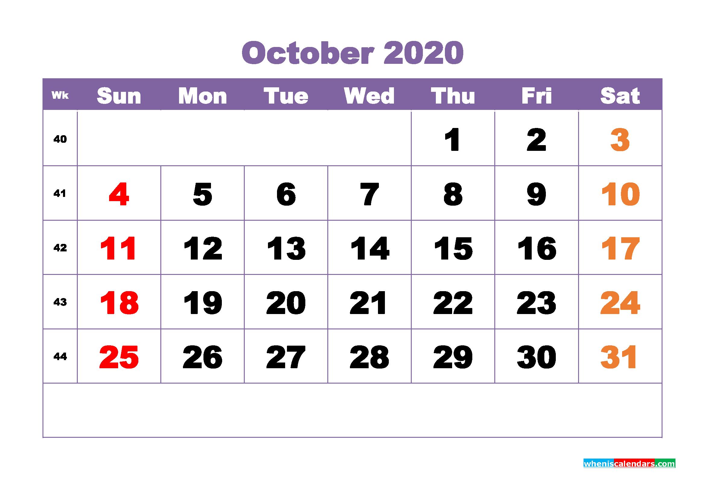 October Printable Calendar 2020 PDF, Word - No.m20b382