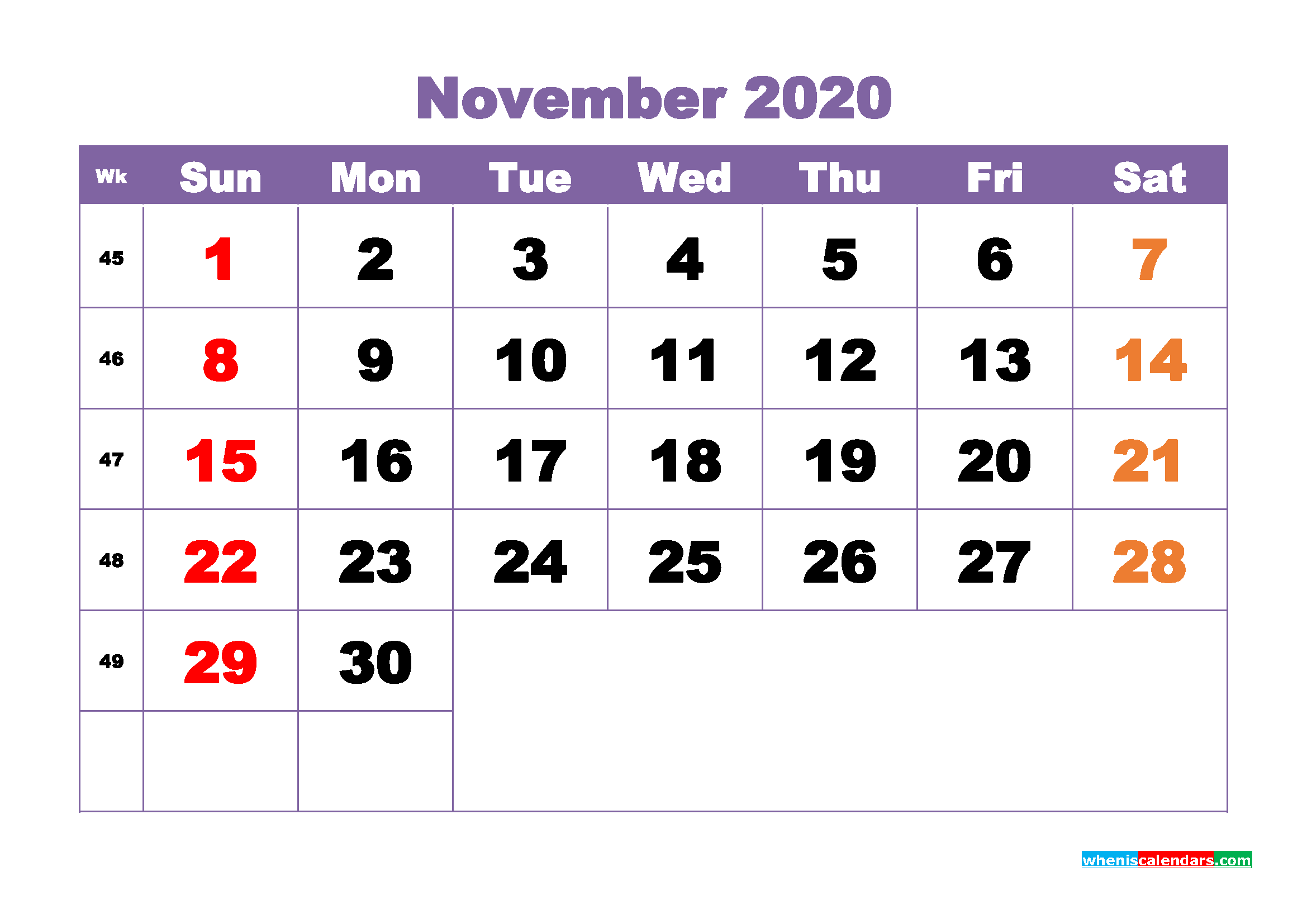 November 2020 Monthly Calendar Template Word