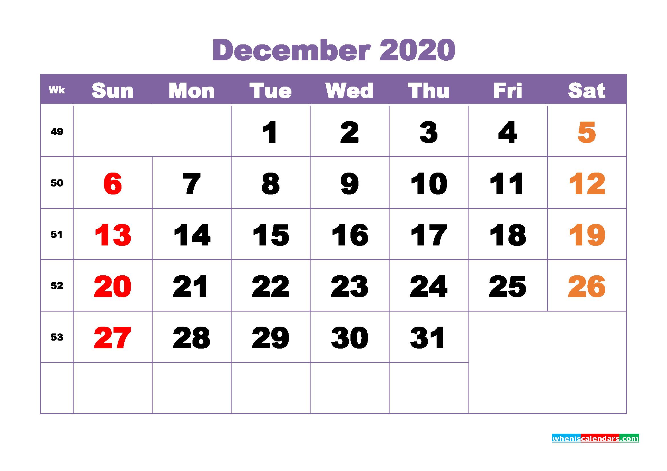 December Printable Calendar 2020 PDF, Word - No.m20b384