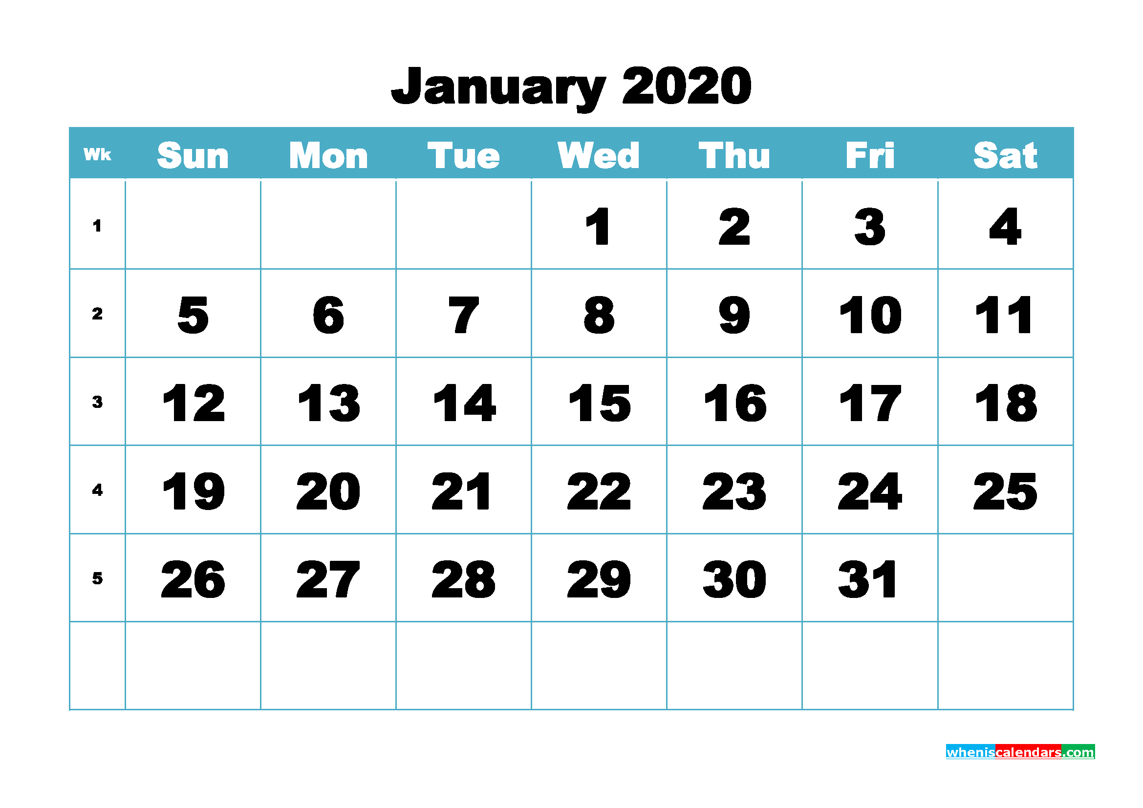 Blank January 2020 Calendar Printable - No.m20b409