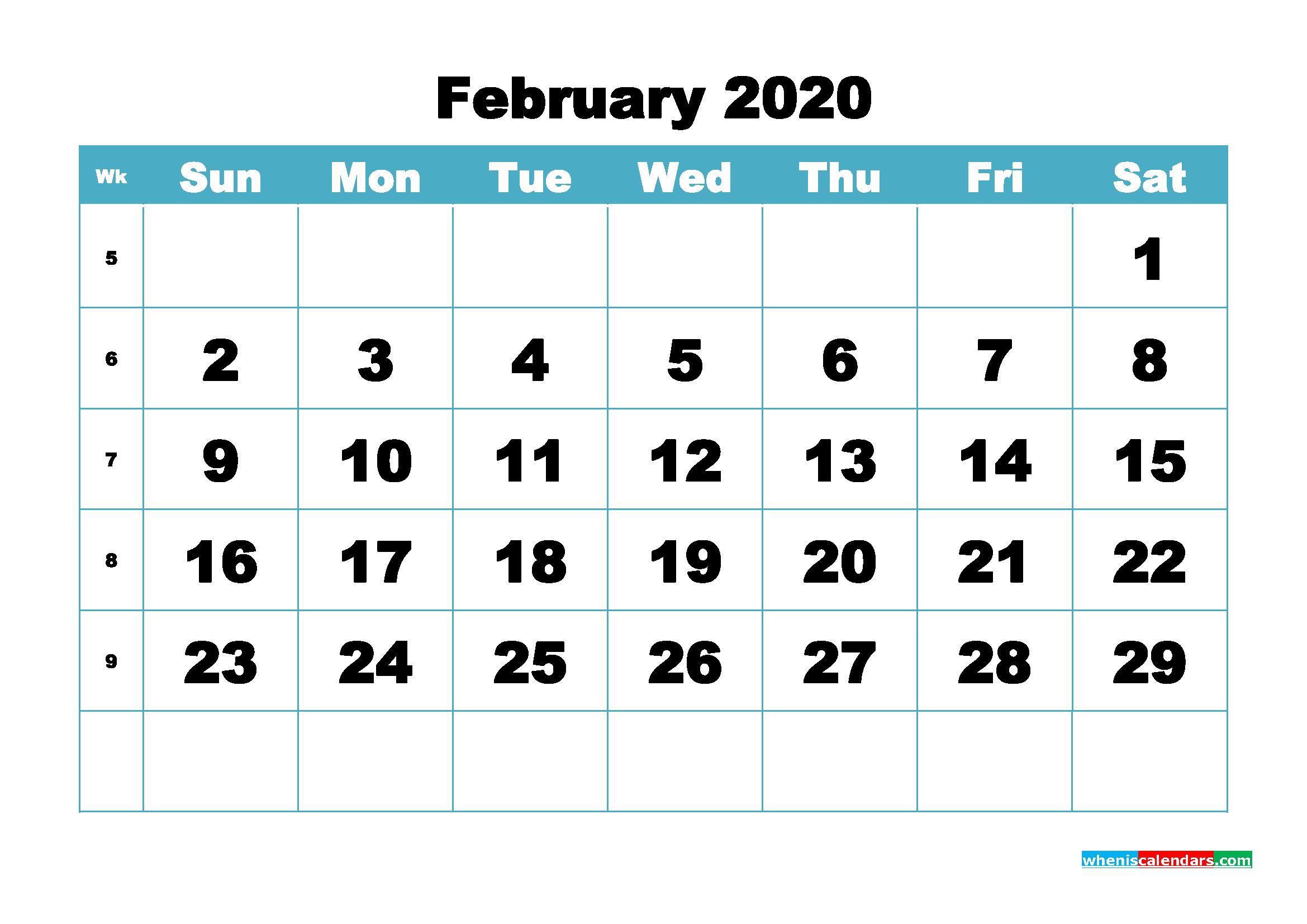Blank February 2020 Calendar Printable - No.m20b410