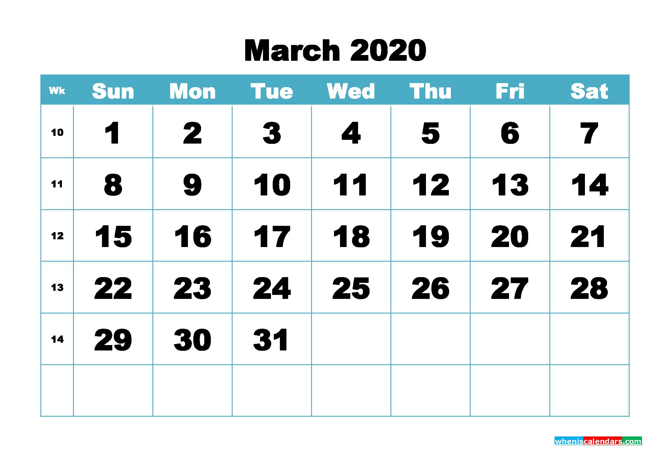 Blank March 2020 Calendar Printable - No.m20b411