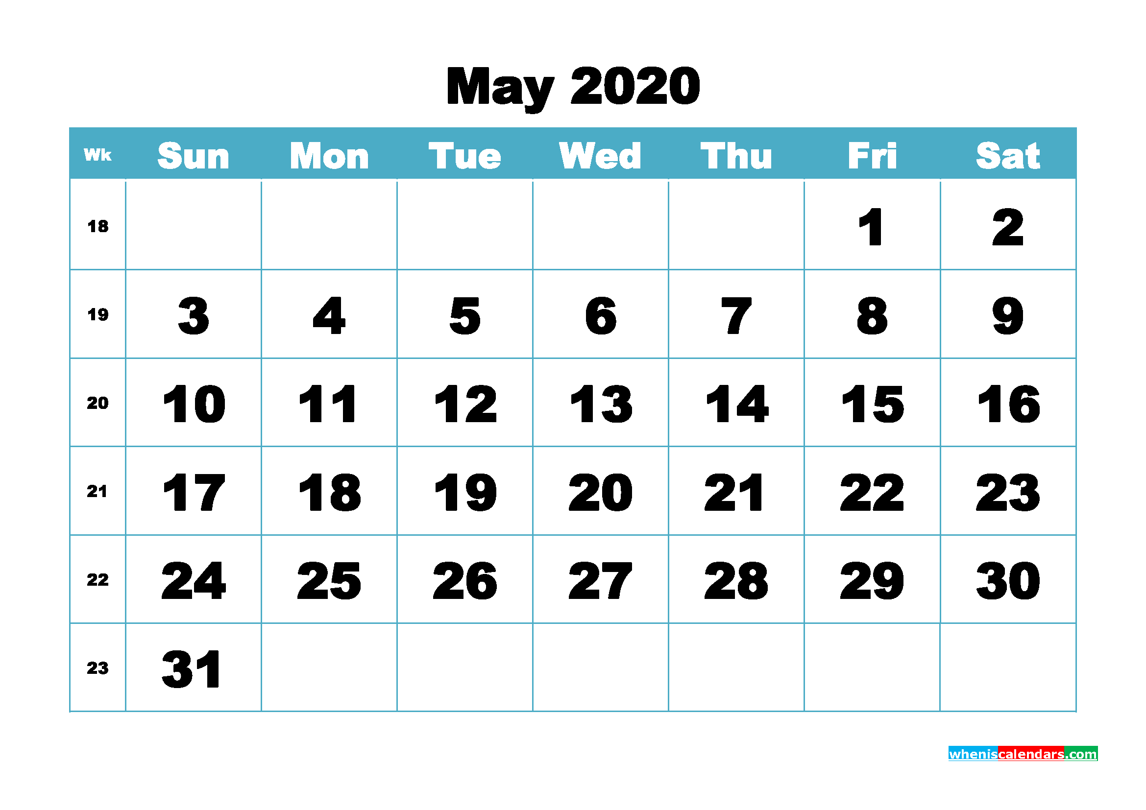 Blank May 2020 Calendar Printable - No.m20b413