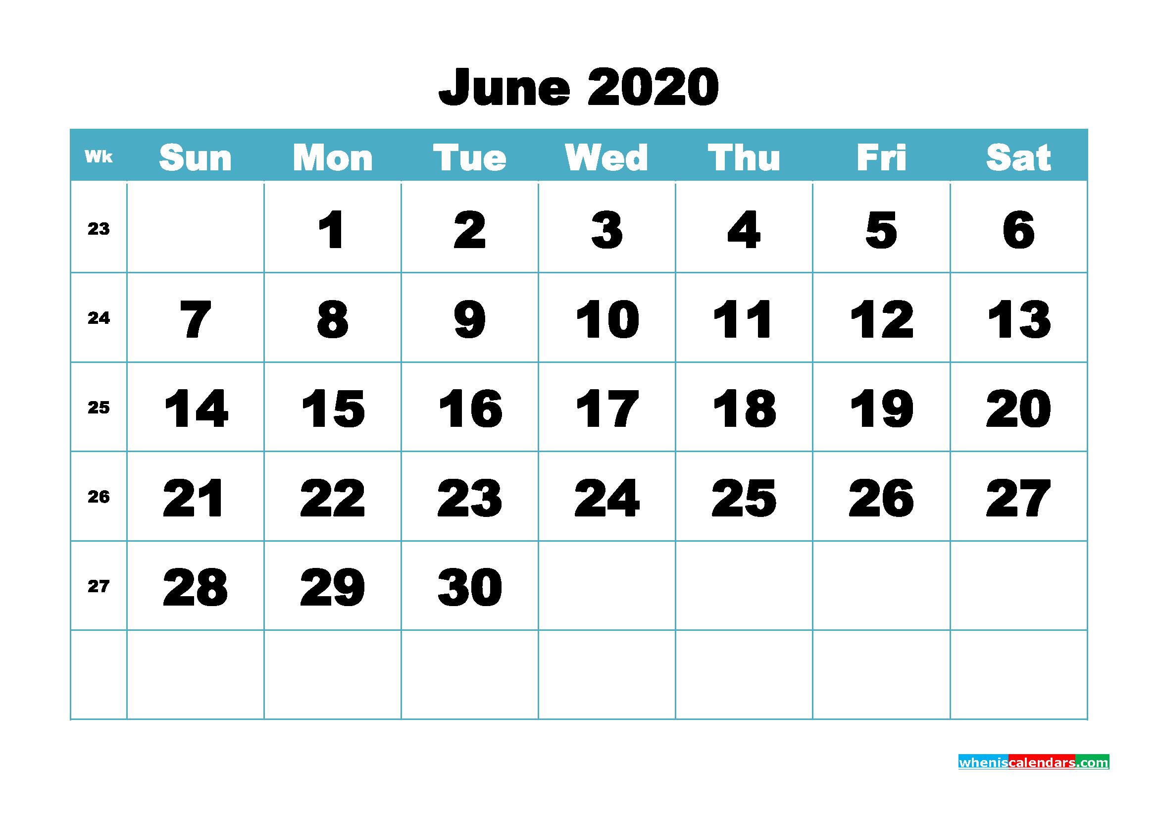 Blank June 2020 Calendar Printable - No.m20b414