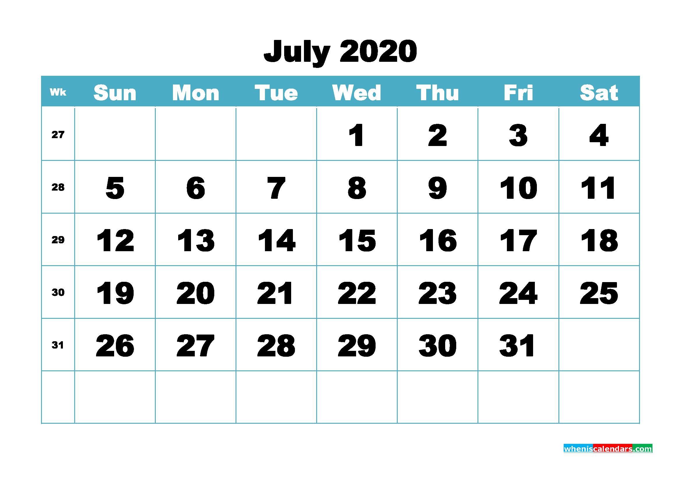 Blank July 2020 Calendar Printable - No.m20b415