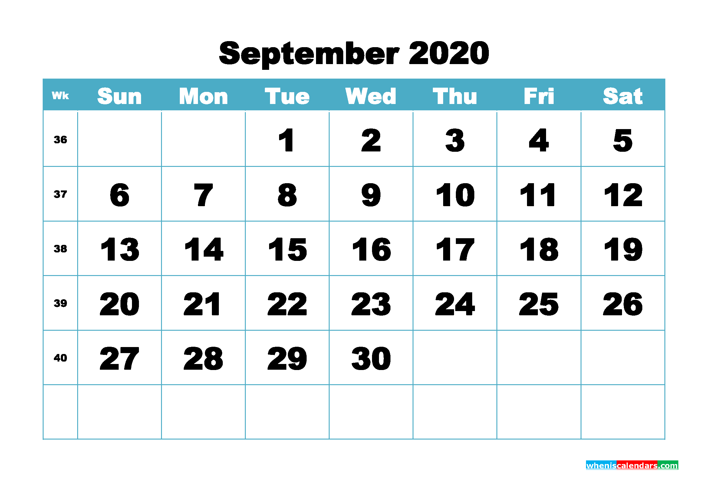 Blank September 2020 Calendar Printable - No.m20b417