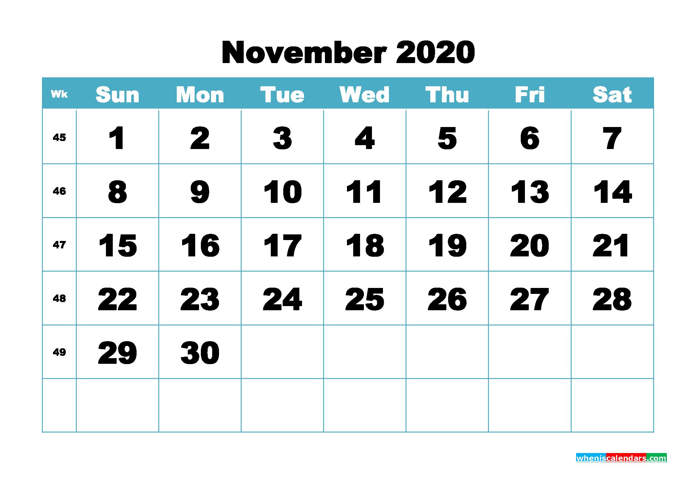 Blank November 2020 Calendar Printable - No.m20b419