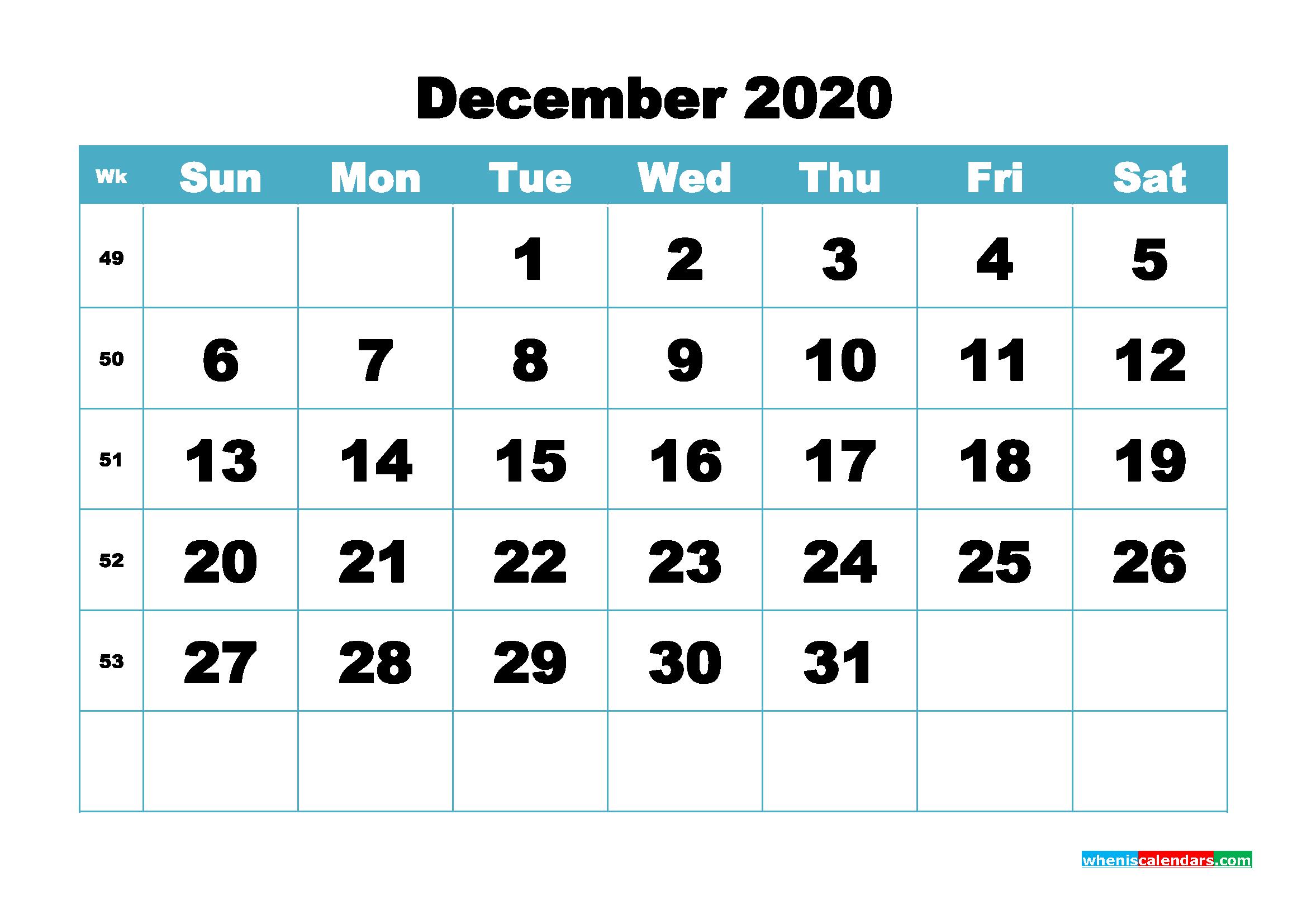 Blank December 2020 Calendar Printable - No.m20b420
