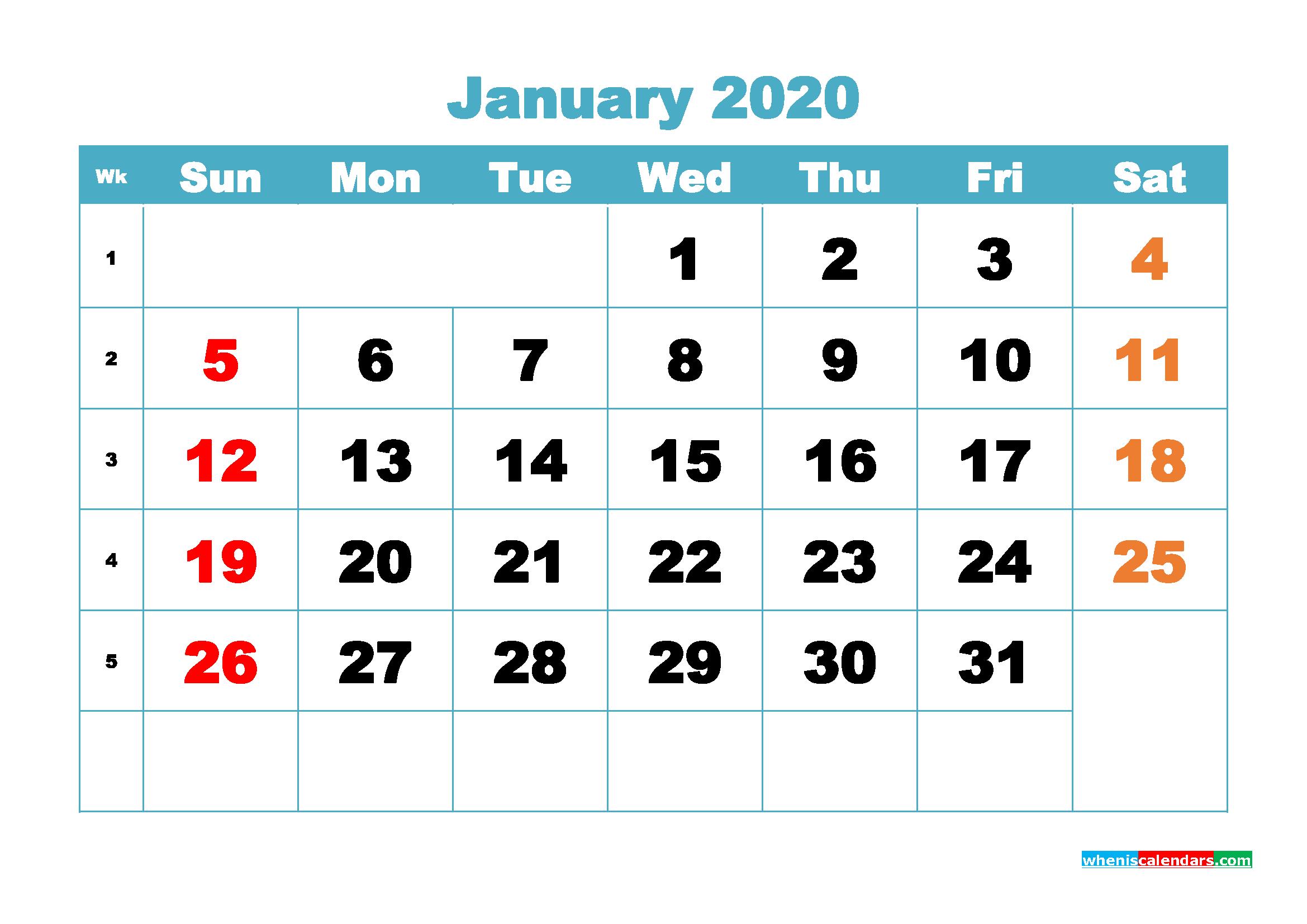 Free Blank Calendar January 2020 Printable - No.m20b397