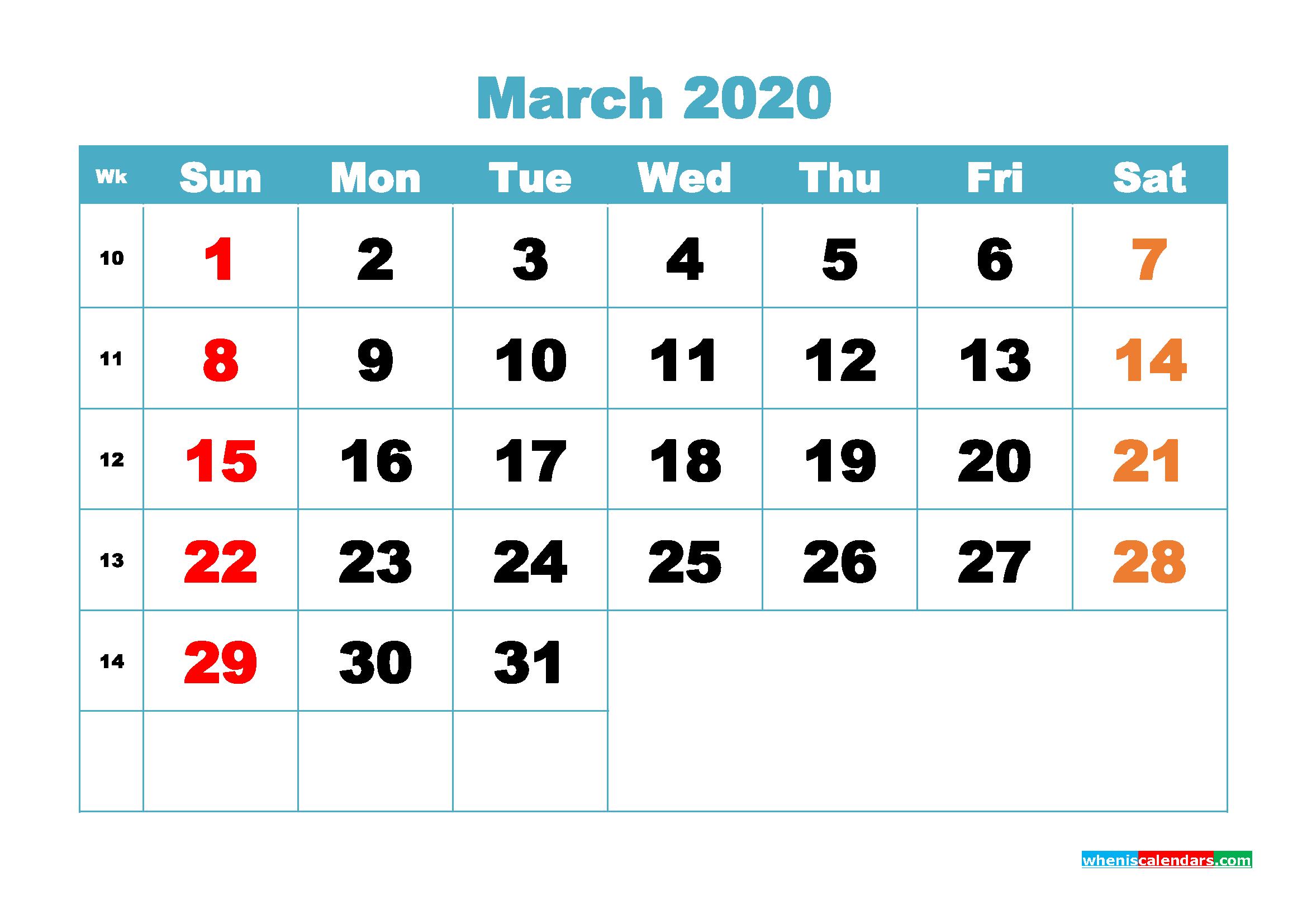 Free Blank Calendar March 2020 Printable - No.m20b399