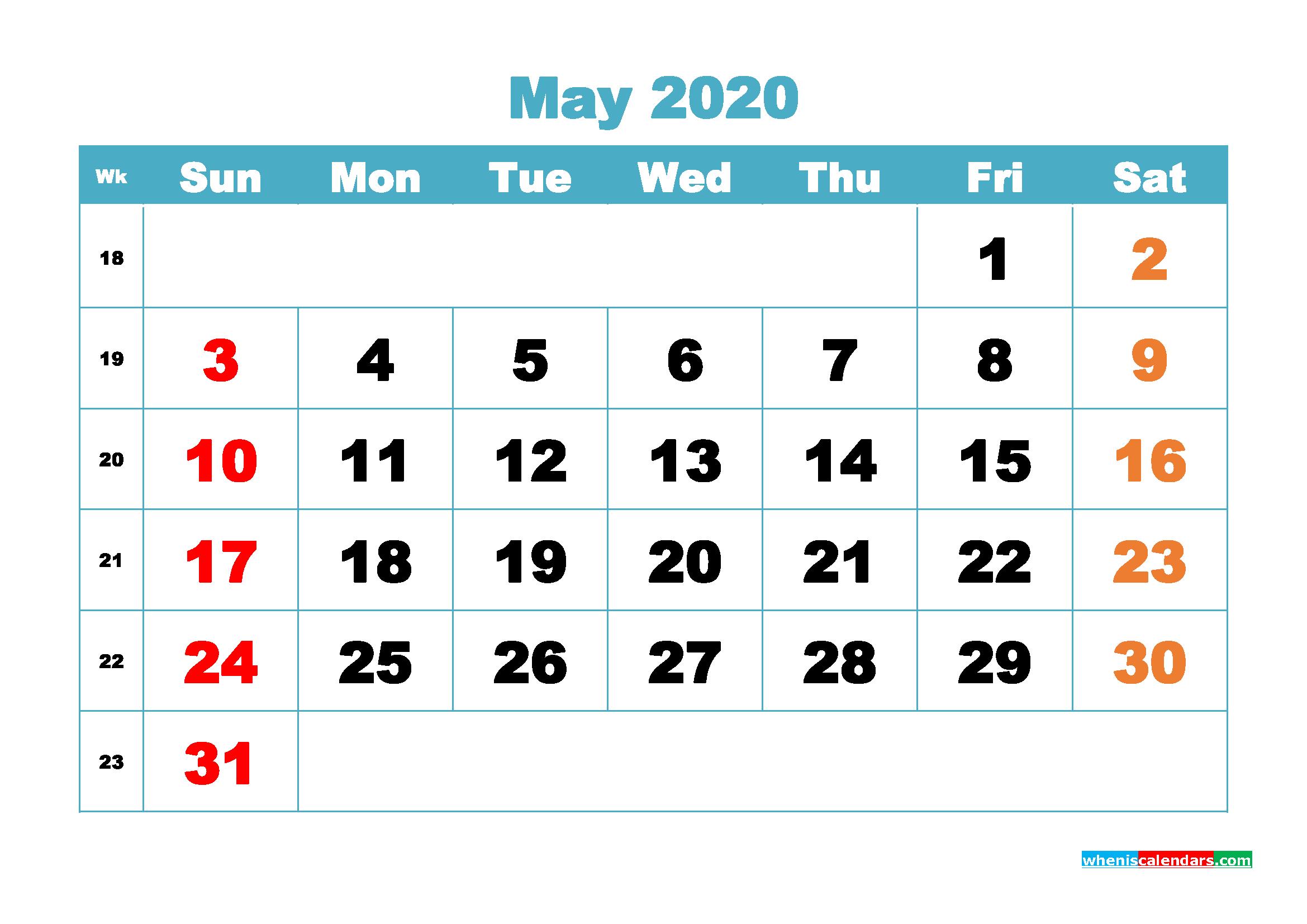 Free Blank Calendar May 2020 Printable - No.m20b401