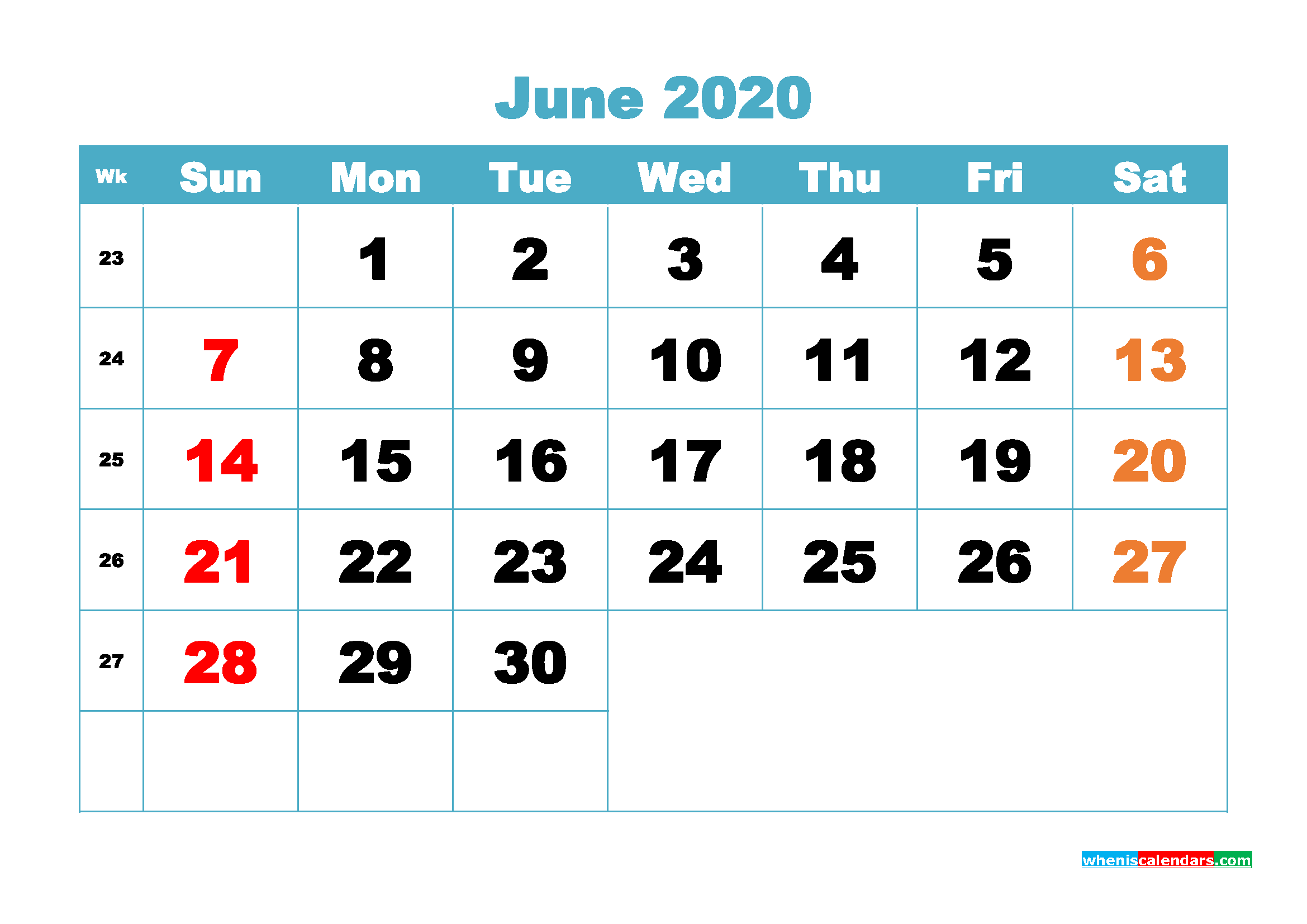 Free Blank Calendar June 2020 Printable - No.m20b402