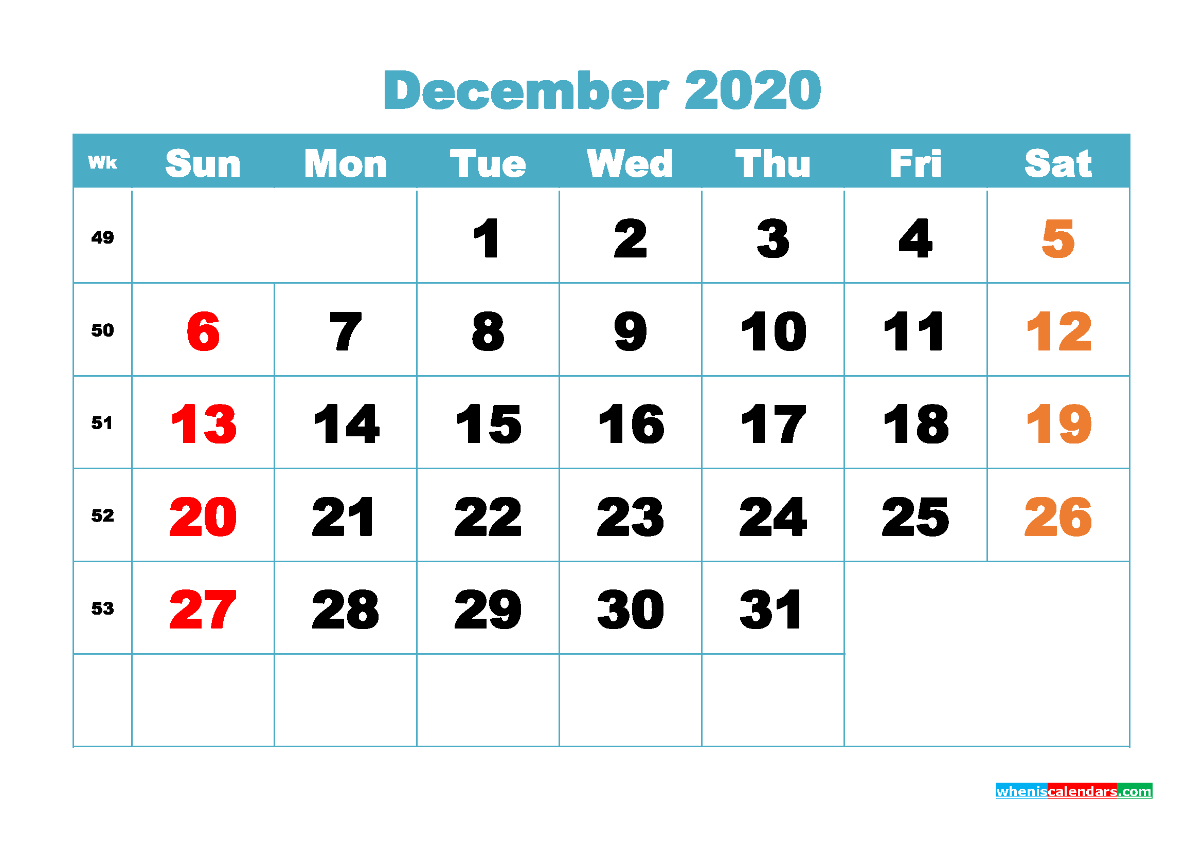 December 2020 Monthly Calendar Template Word