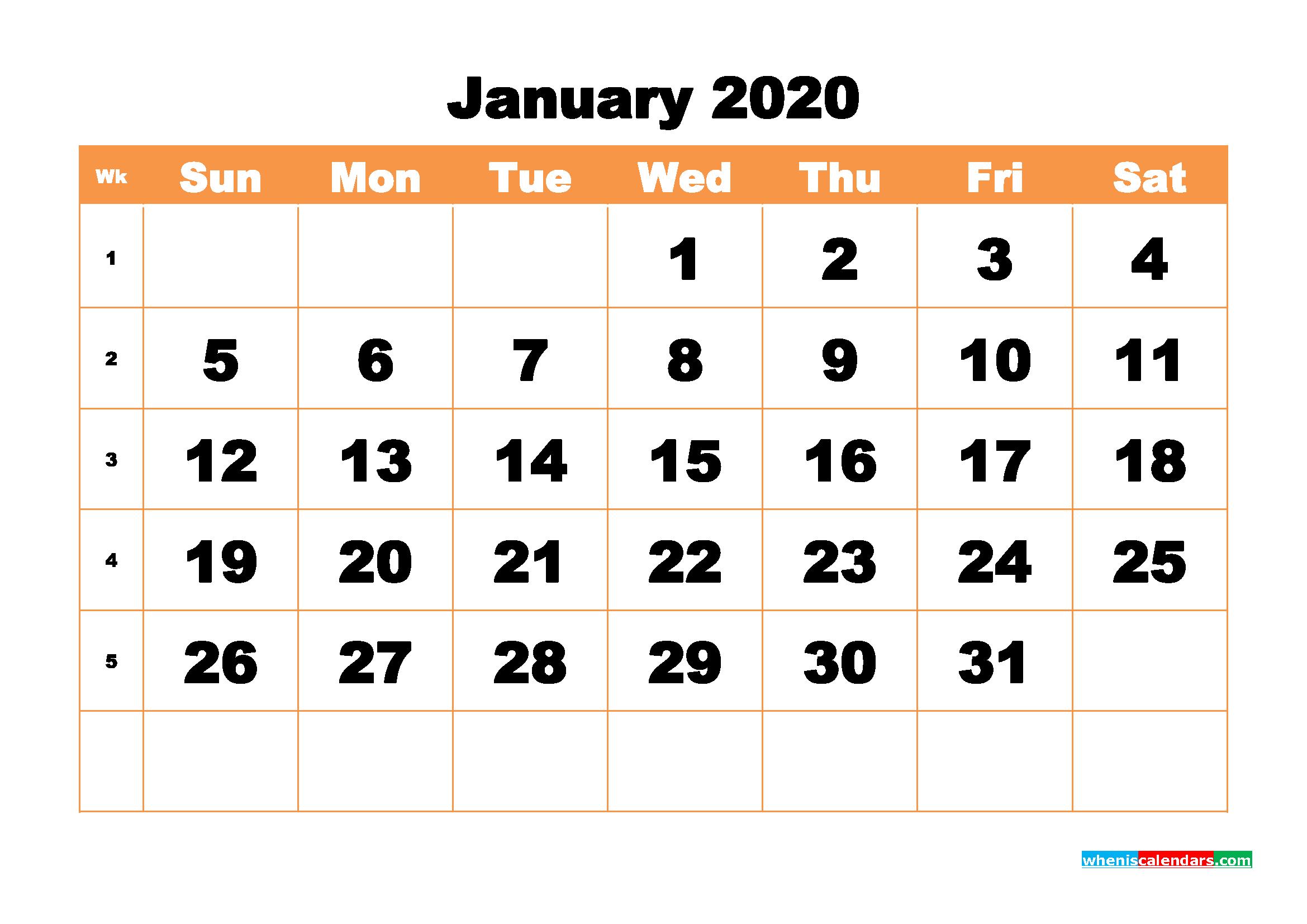 Free Printable Calendar January 2020 PDF, Word - No.m20b433