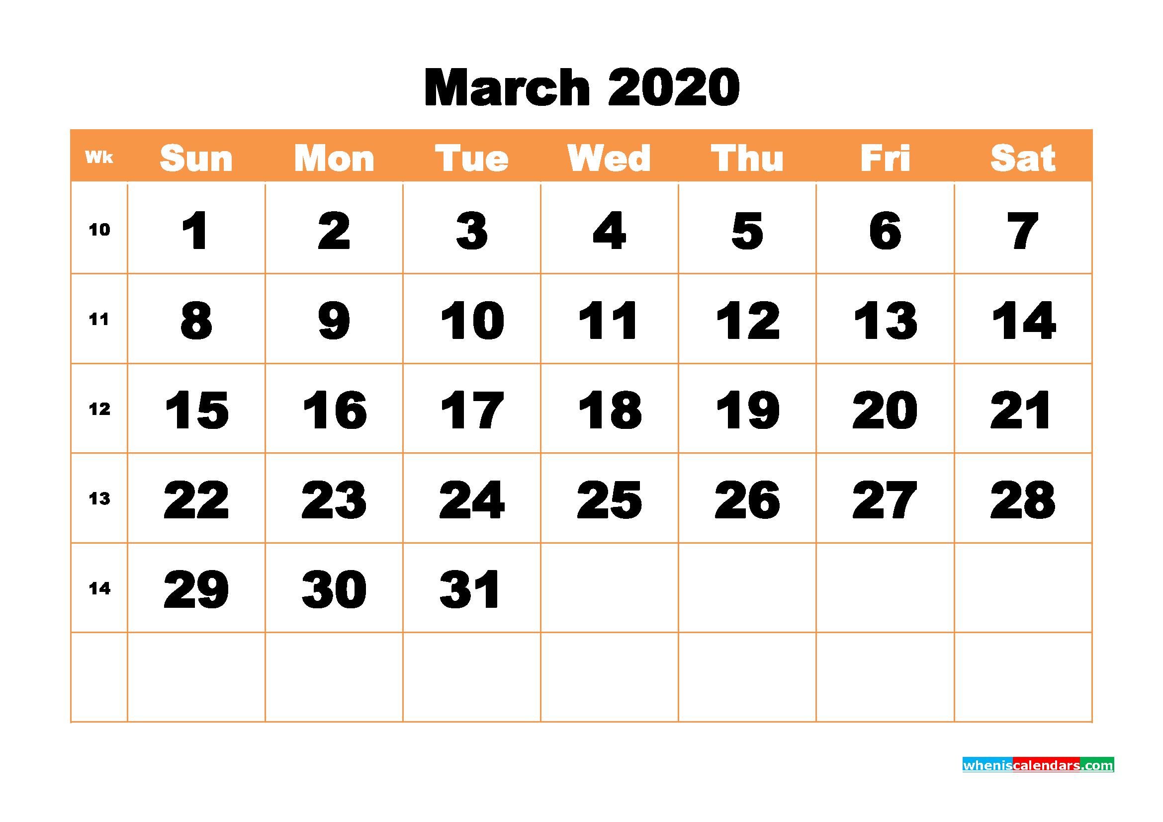 Free Printable Calendar March 2020 PDF, Word - No.m20b435