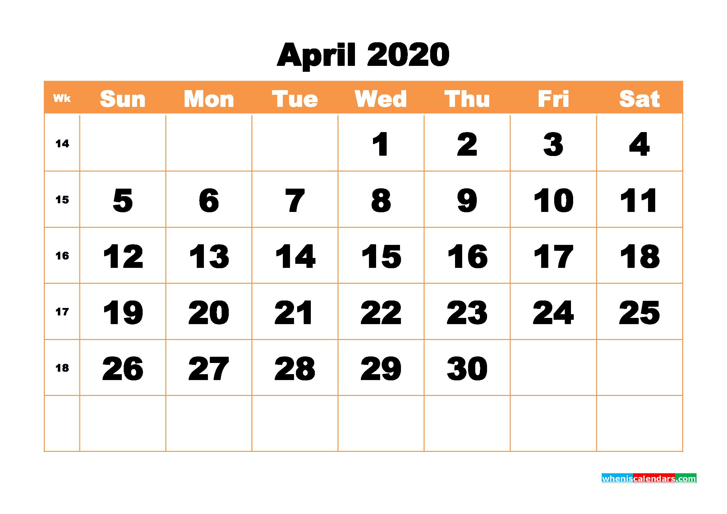 Free Printable Calendar April 2020 PDF, Word - No.m20b436