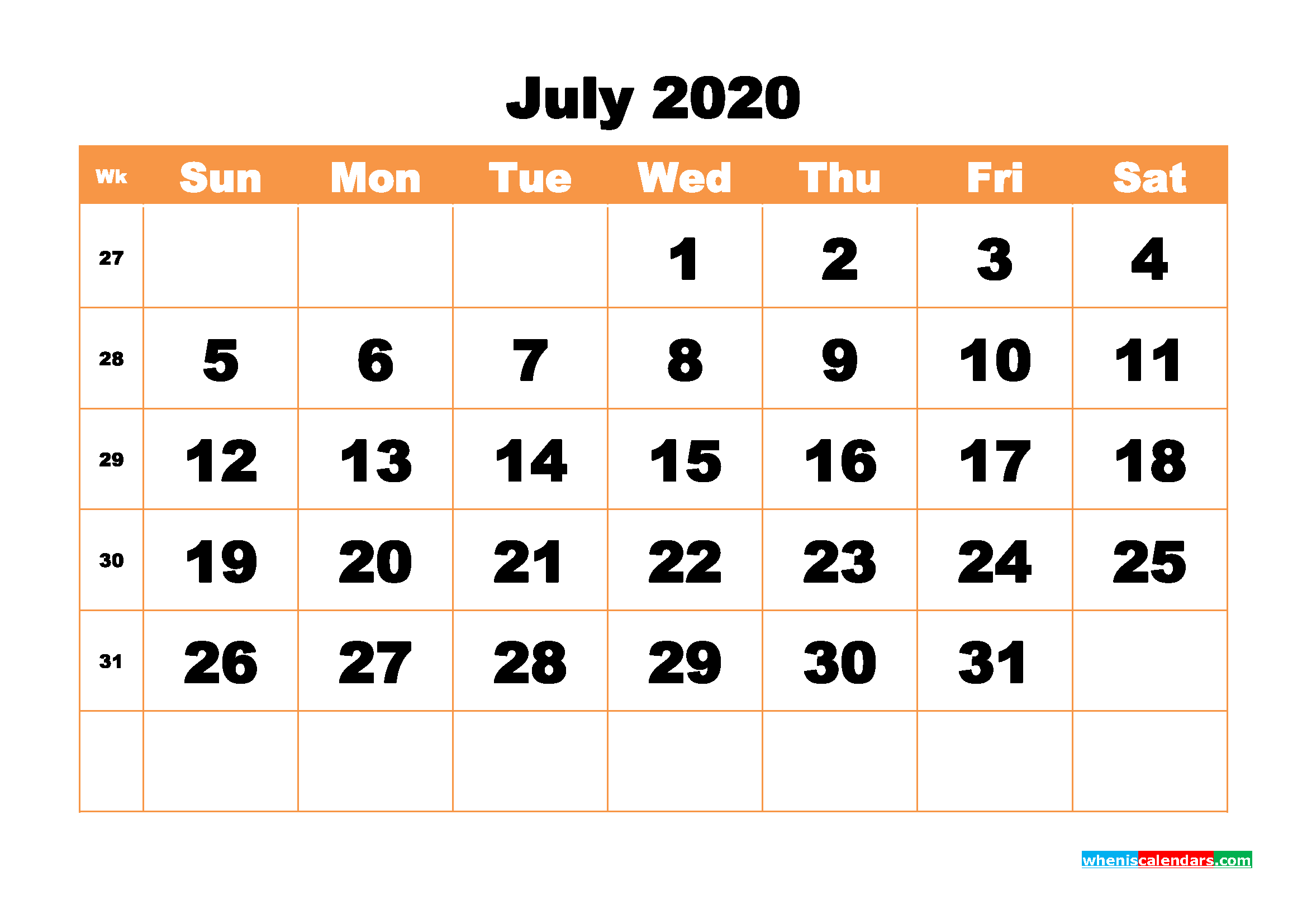 Printable 2020 Monthly Calendar with Week Numbers July