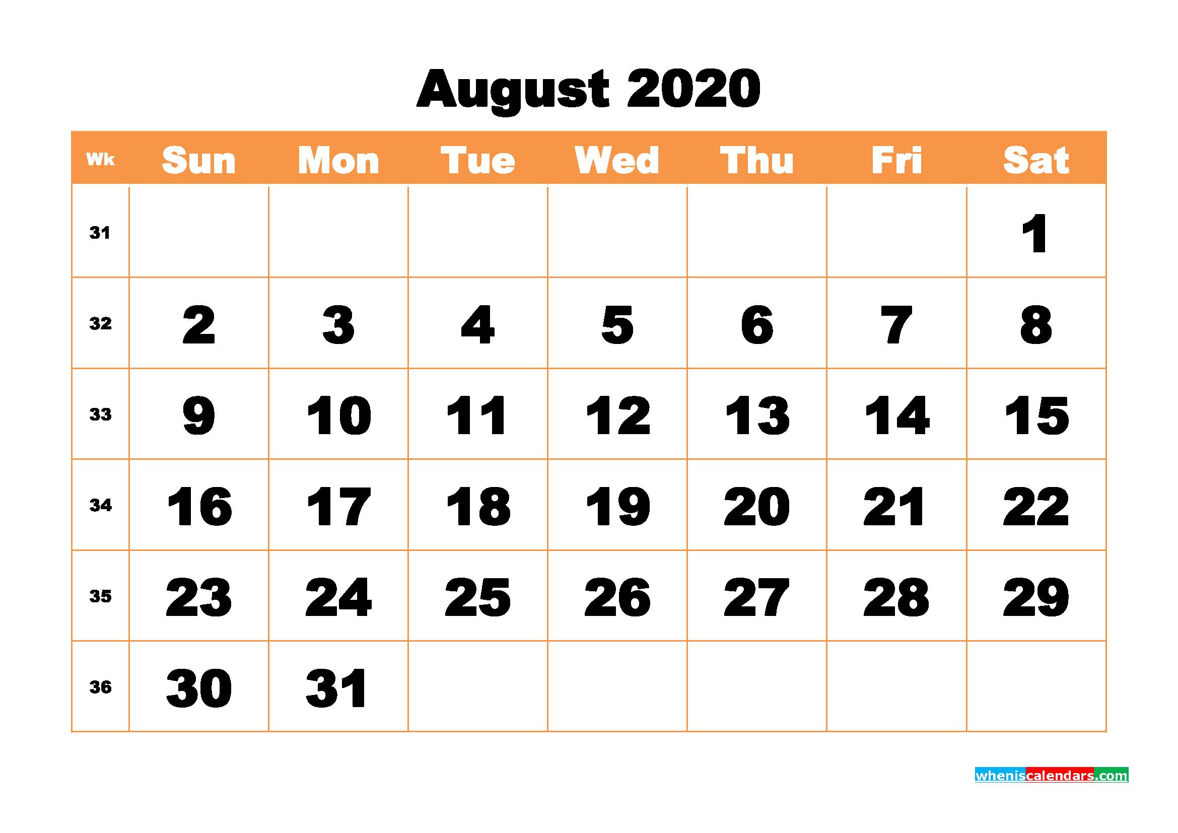 Free Printable Calendar August 2020 PDF, Word - No.m20b440