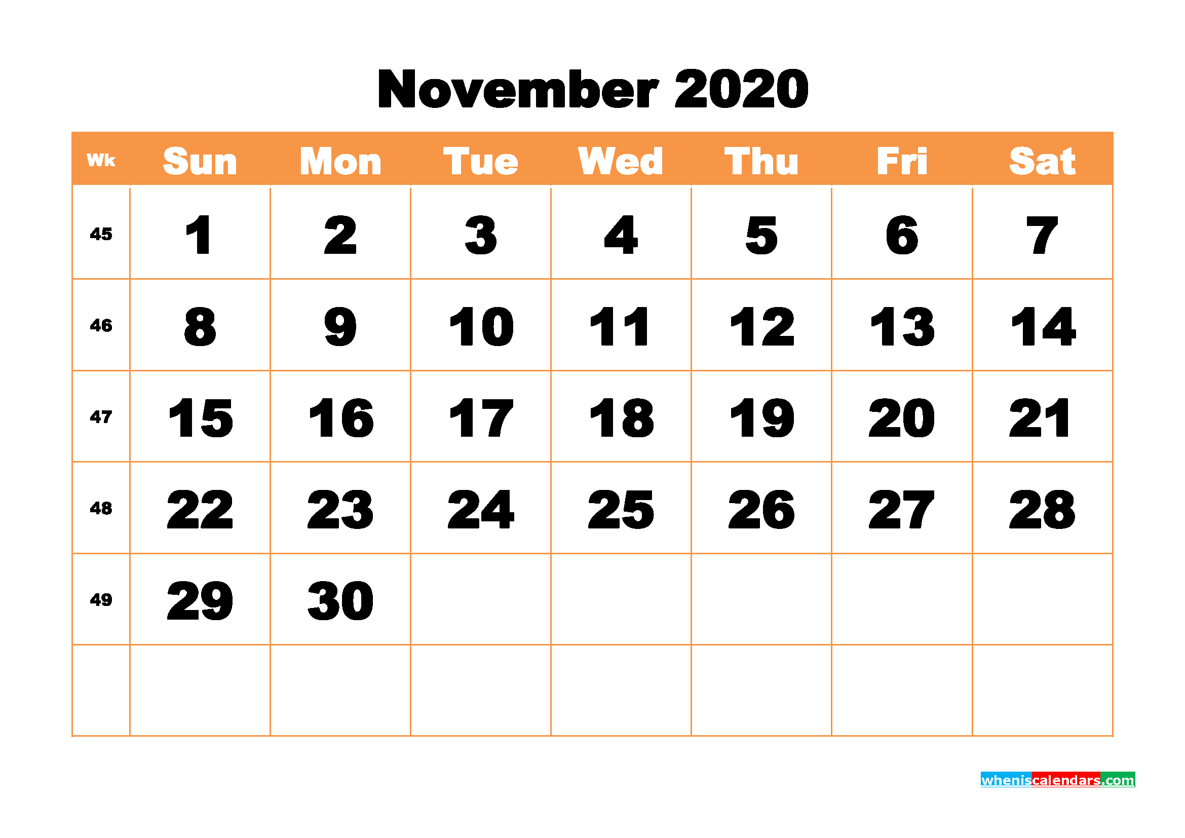 Free Printable Calendar November 2020 PDF, Word - No.m20b443
