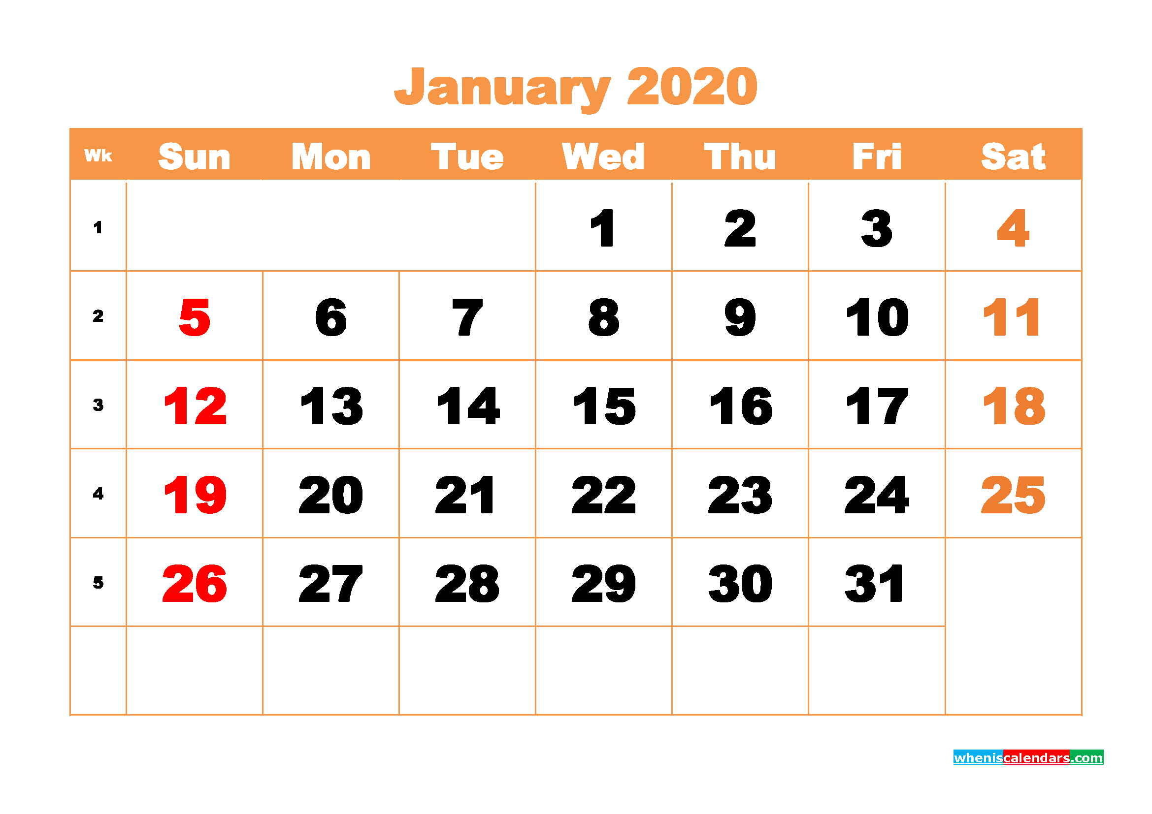 Printable 2020 Monthly Calendar with Week Numbers January