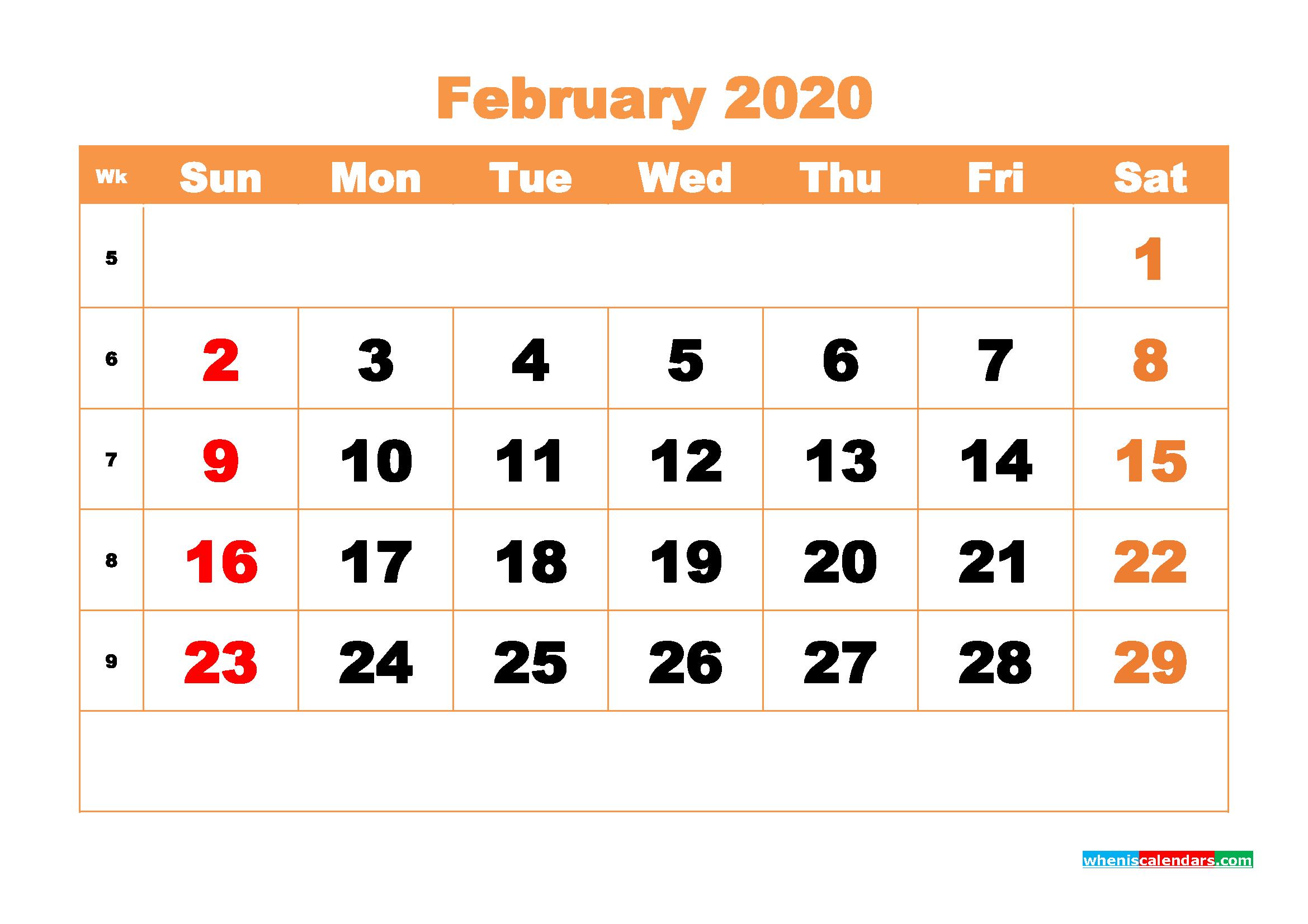 February 2020 Blank Calendar Printable - No.m20b422