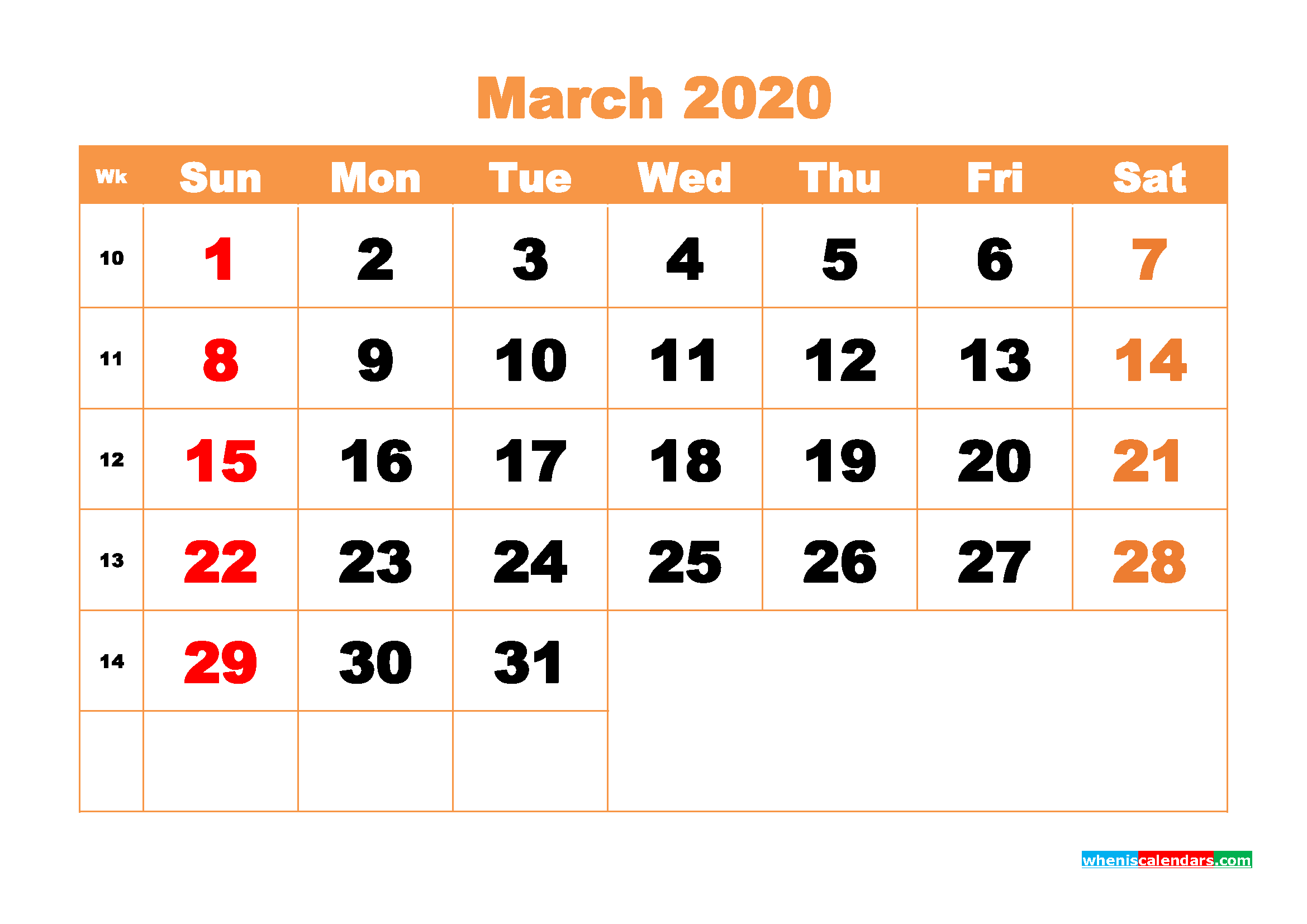 March 2020 Blank Calendar Printable - No.m20b423