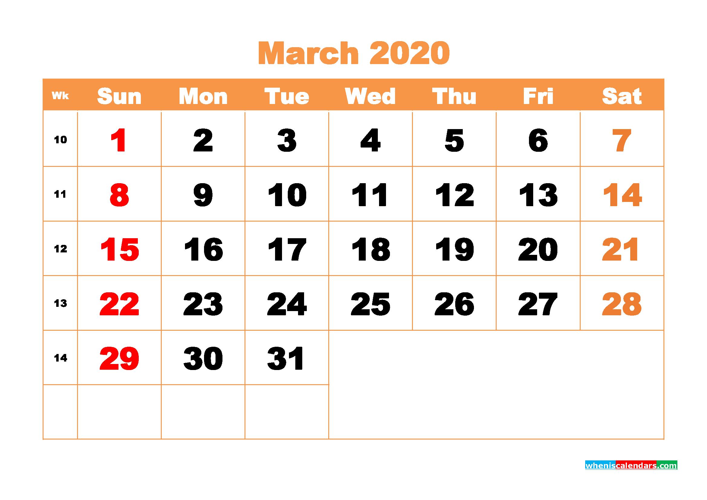 March 2020 Blank Calendar Printable - No.m20b423