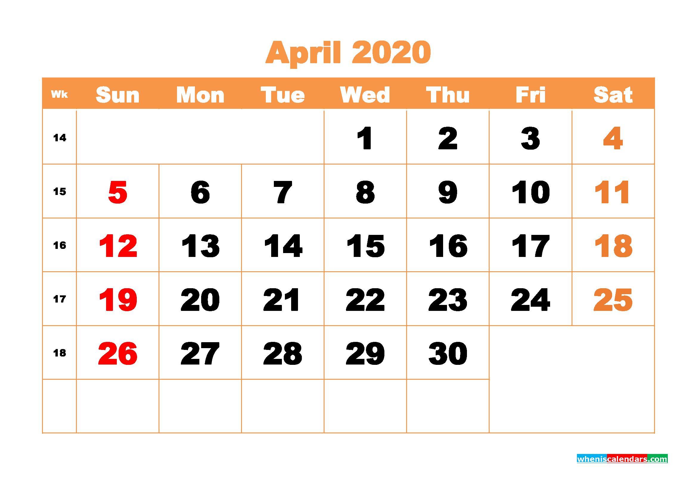 April 2020 Blank Calendar Printable - No.m20b424